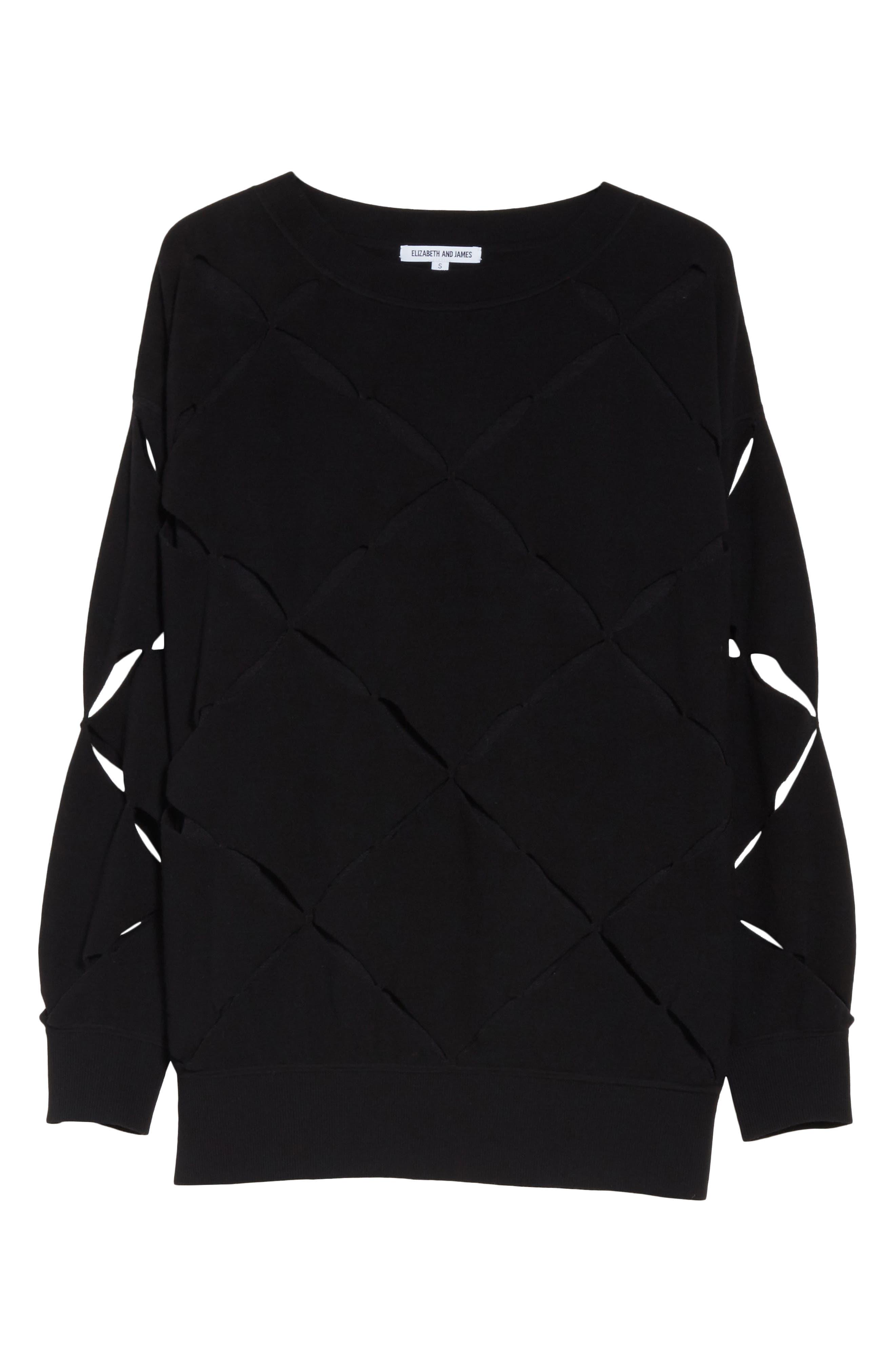Roz Cutout Sweater,                             Alternate thumbnail 6, color,                             Black
