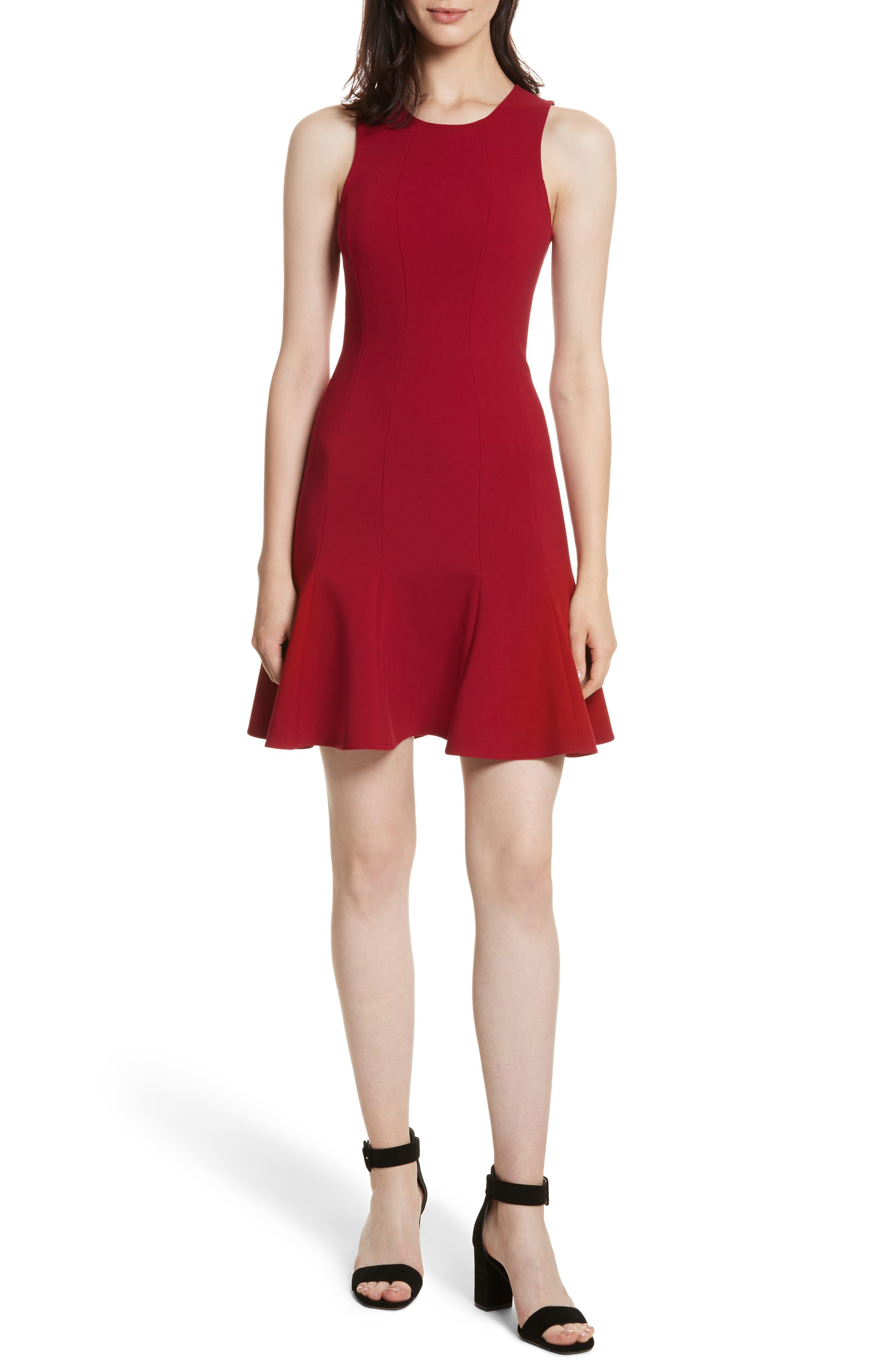 Rooney Flare Hem Dress,                             Main thumbnail 1, color,                             Ruby