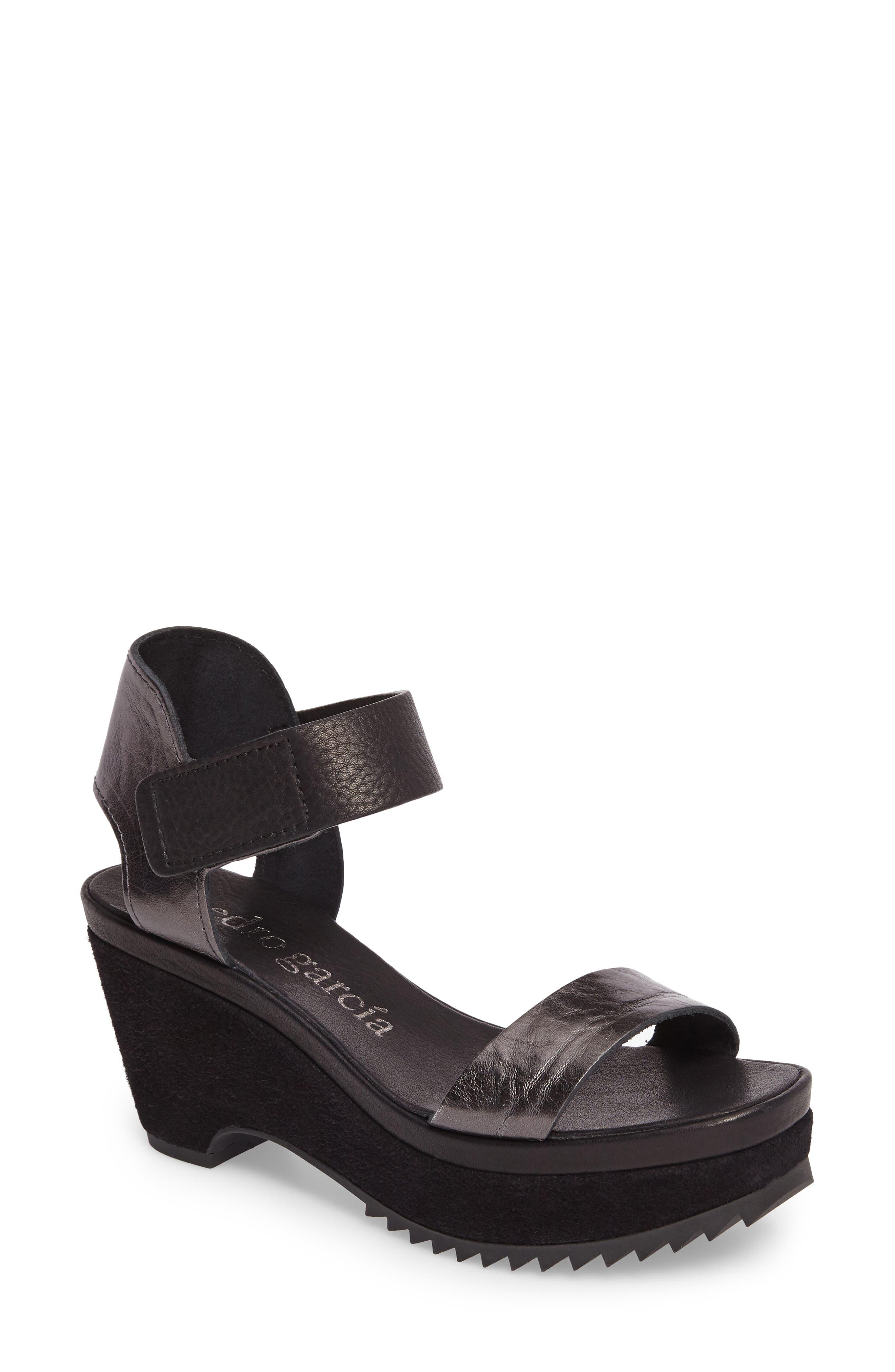 Franses Flatform Sandal,                             Main thumbnail 1, color,                             Antracite Cervo Lame