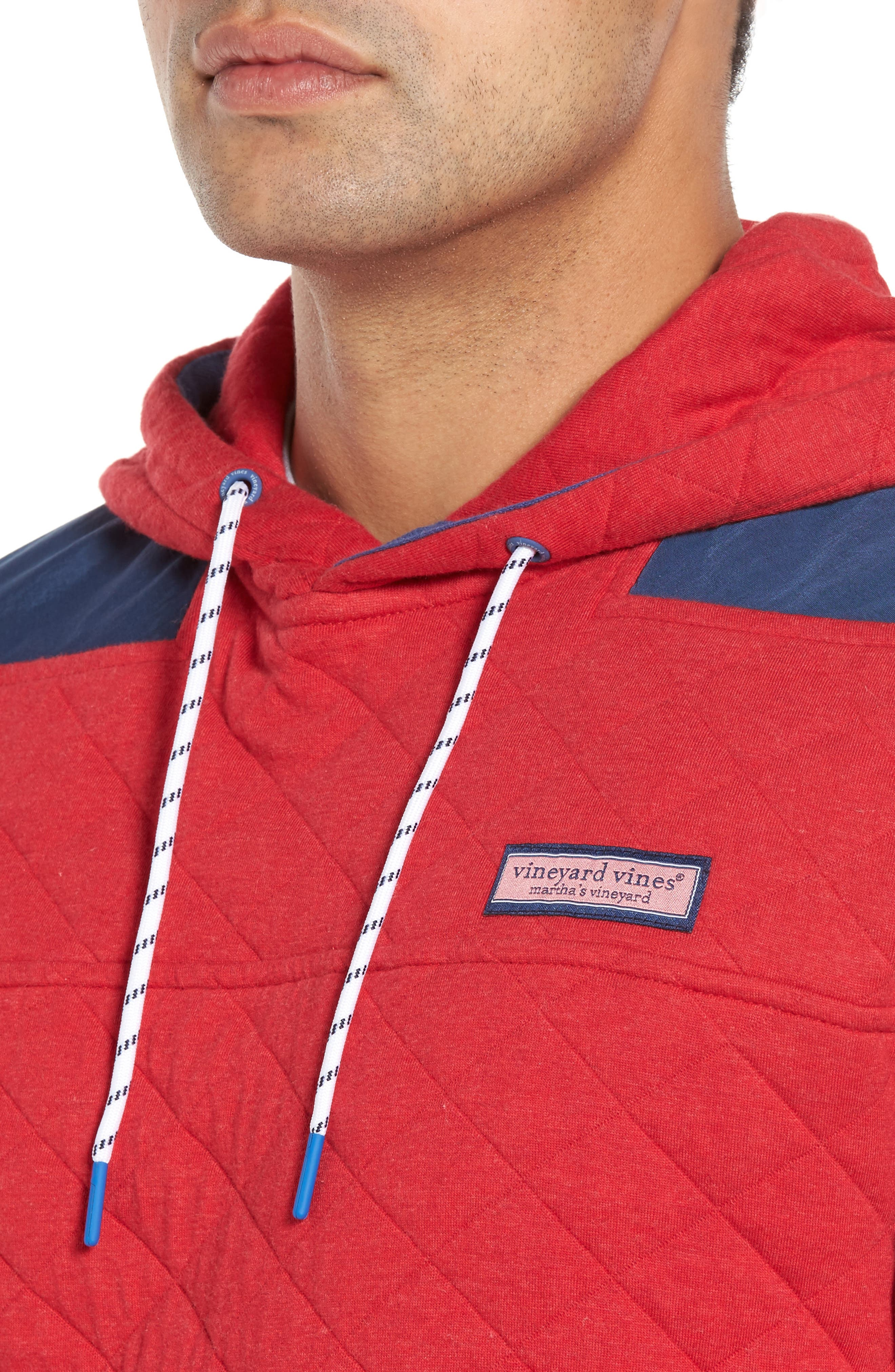 Shep Quilted Hoodie,                             Alternate thumbnail 4, color,                             Tomato Check