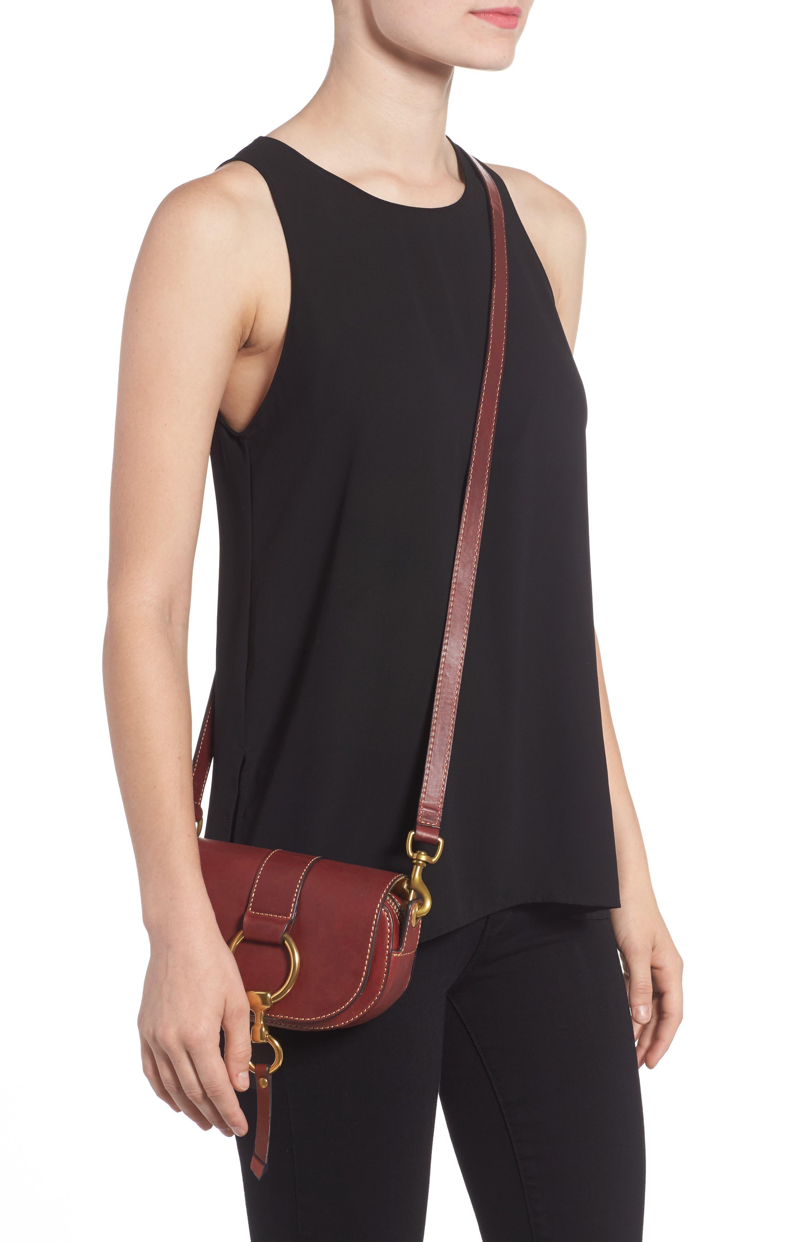 Mini Ilana Harness Leather Saddle Bag,                             Alternate thumbnail 3, color,                             Wine
