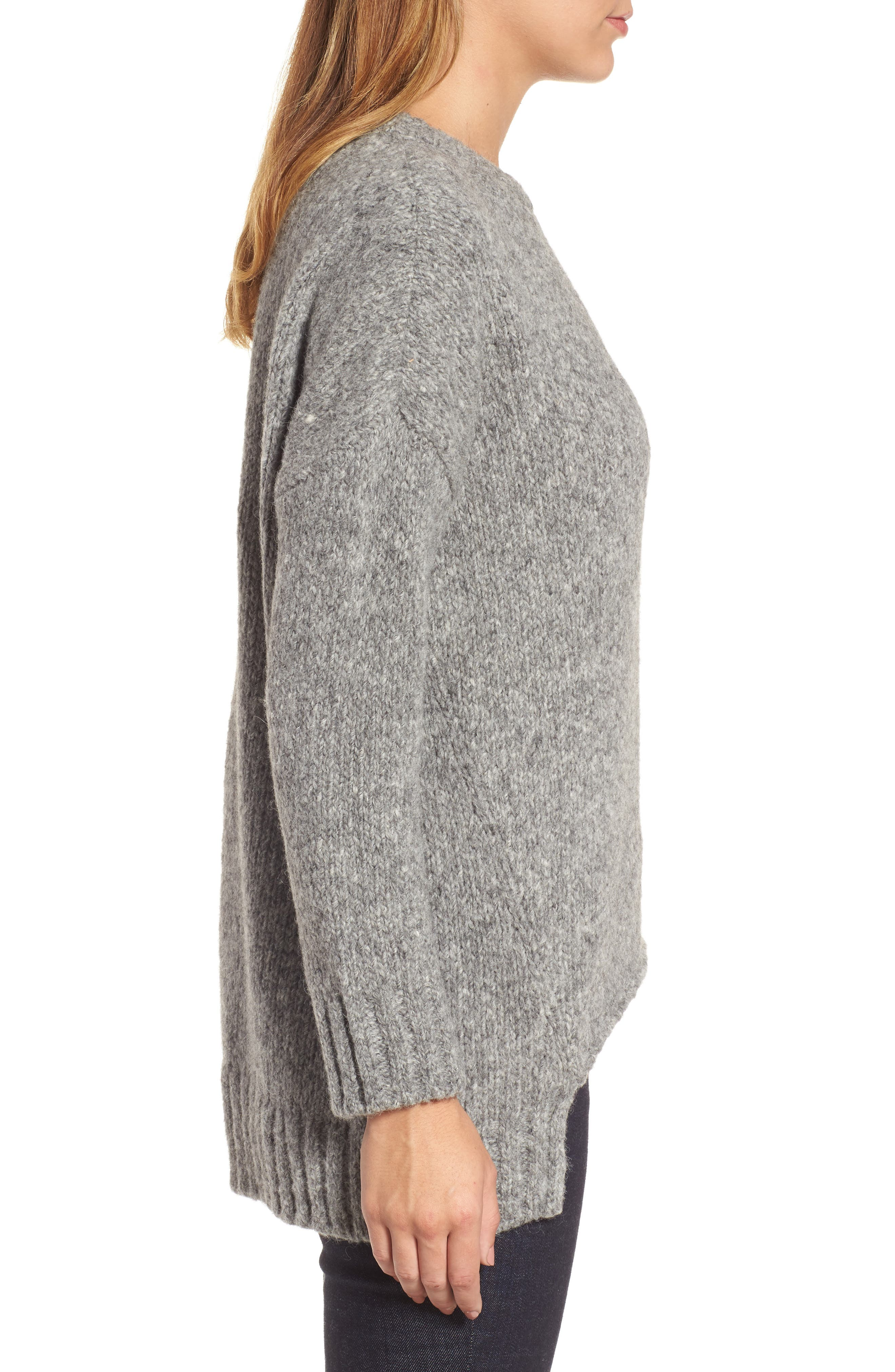 High/Low Alpaca Blend Sweater,                             Alternate thumbnail 3, color,                             Moon