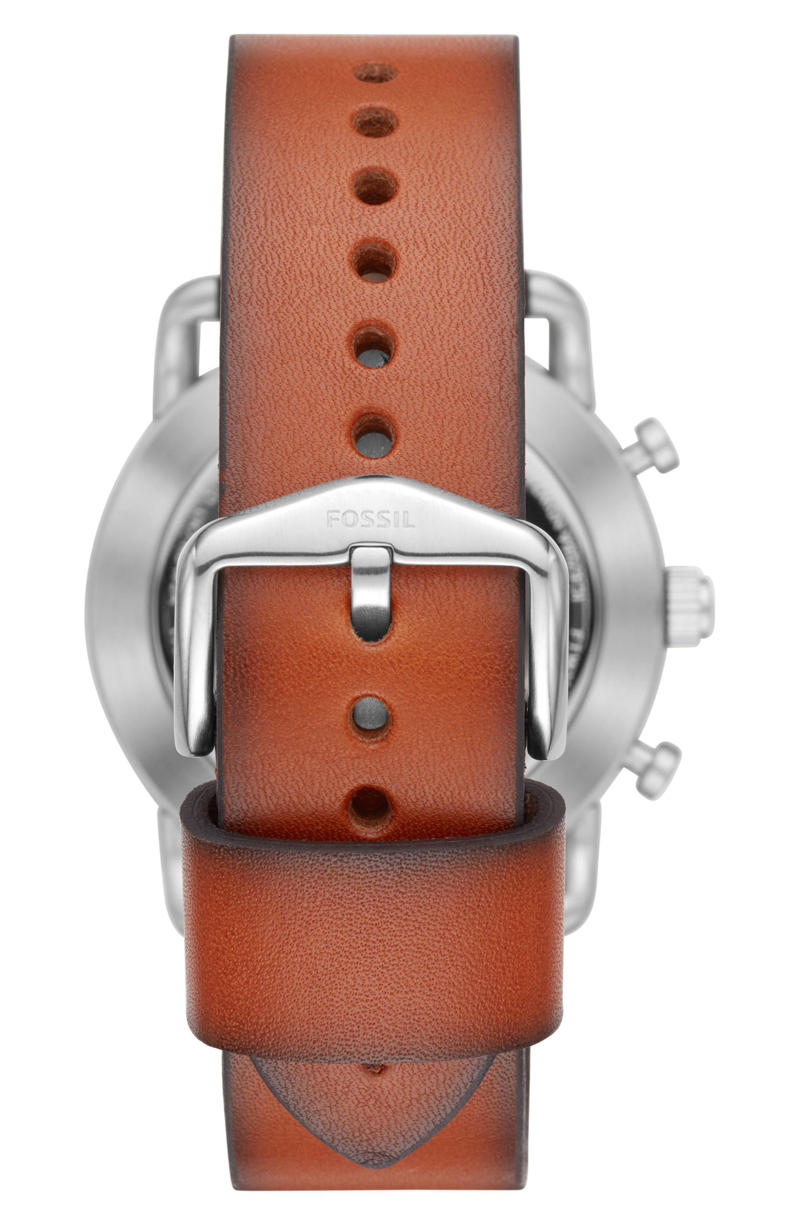 Commuter Leather Strap Hybrid Smart Watch, 42mm,                             Alternate thumbnail 2, color,                             Brown/ Blue/ Silver