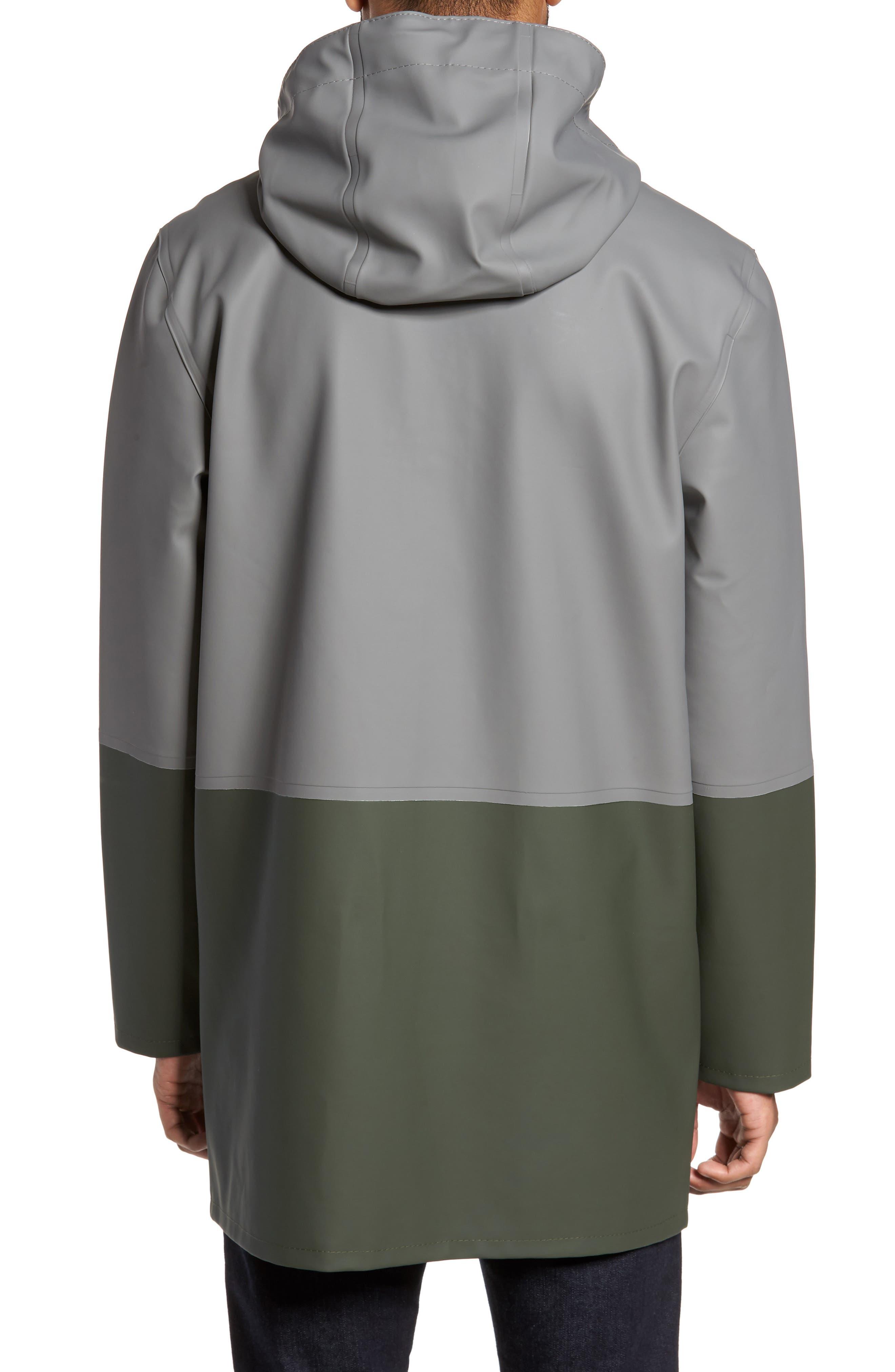 Stockholm Colorblock Waterproof Hooded Raincoat,                             Alternate thumbnail 2, color,                             Grey/ Green