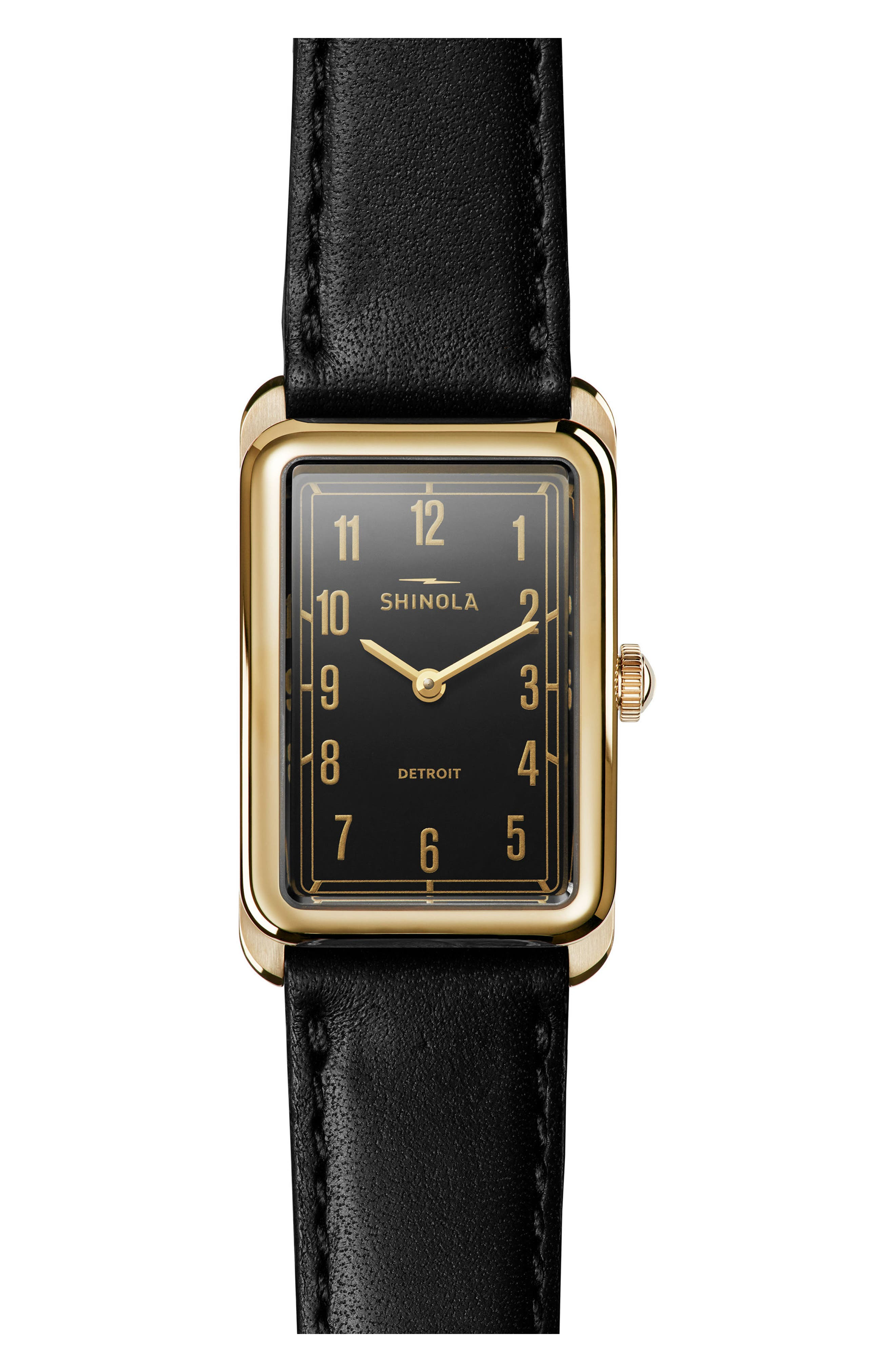 The Muldowney Rectangular Leather Strap Watch, 24mm x 32mm,                         Main,                         color, Black/ Gold