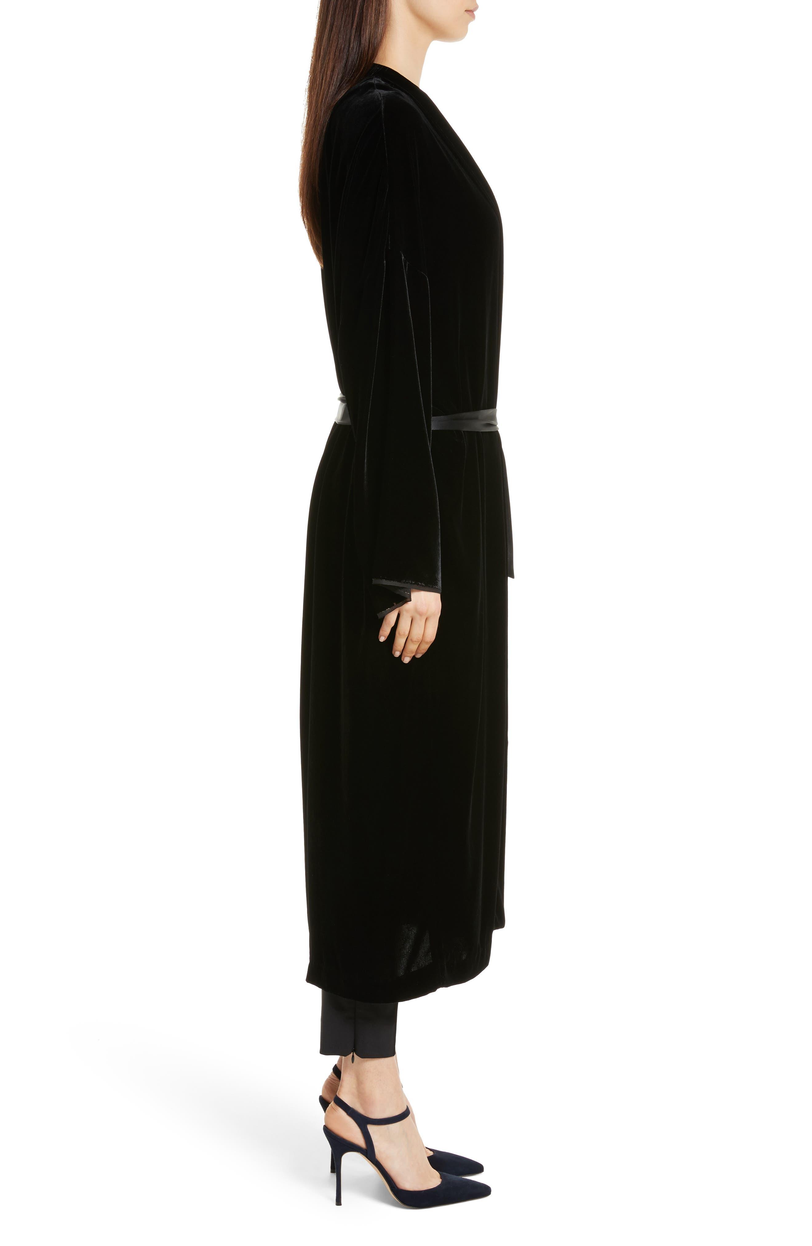 Muna Velvet Kimono,                             Alternate thumbnail 4, color,                             Black