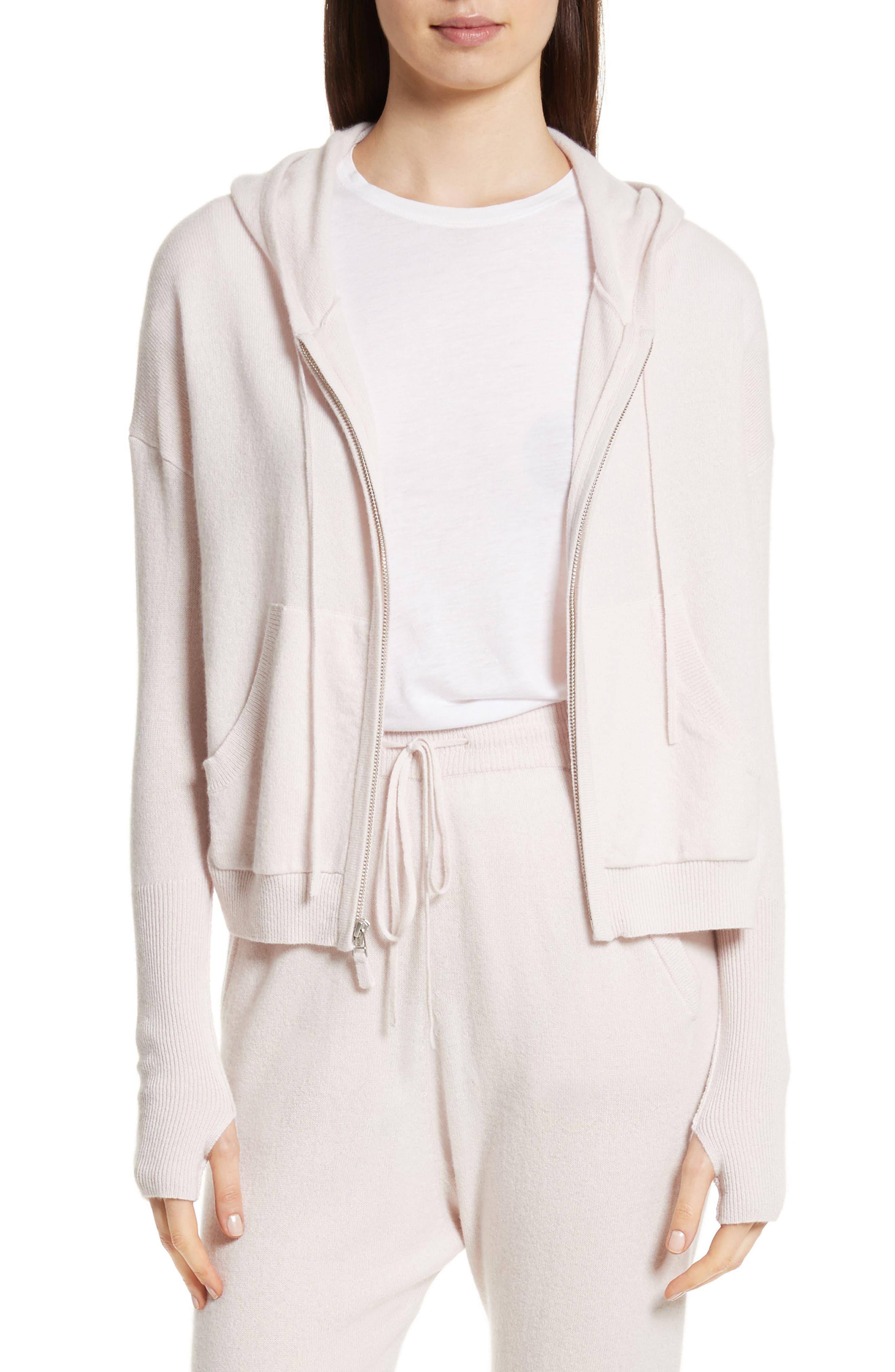 Elisha Cashmere Zip Front Hoodie,                         Main,                         color, Blush