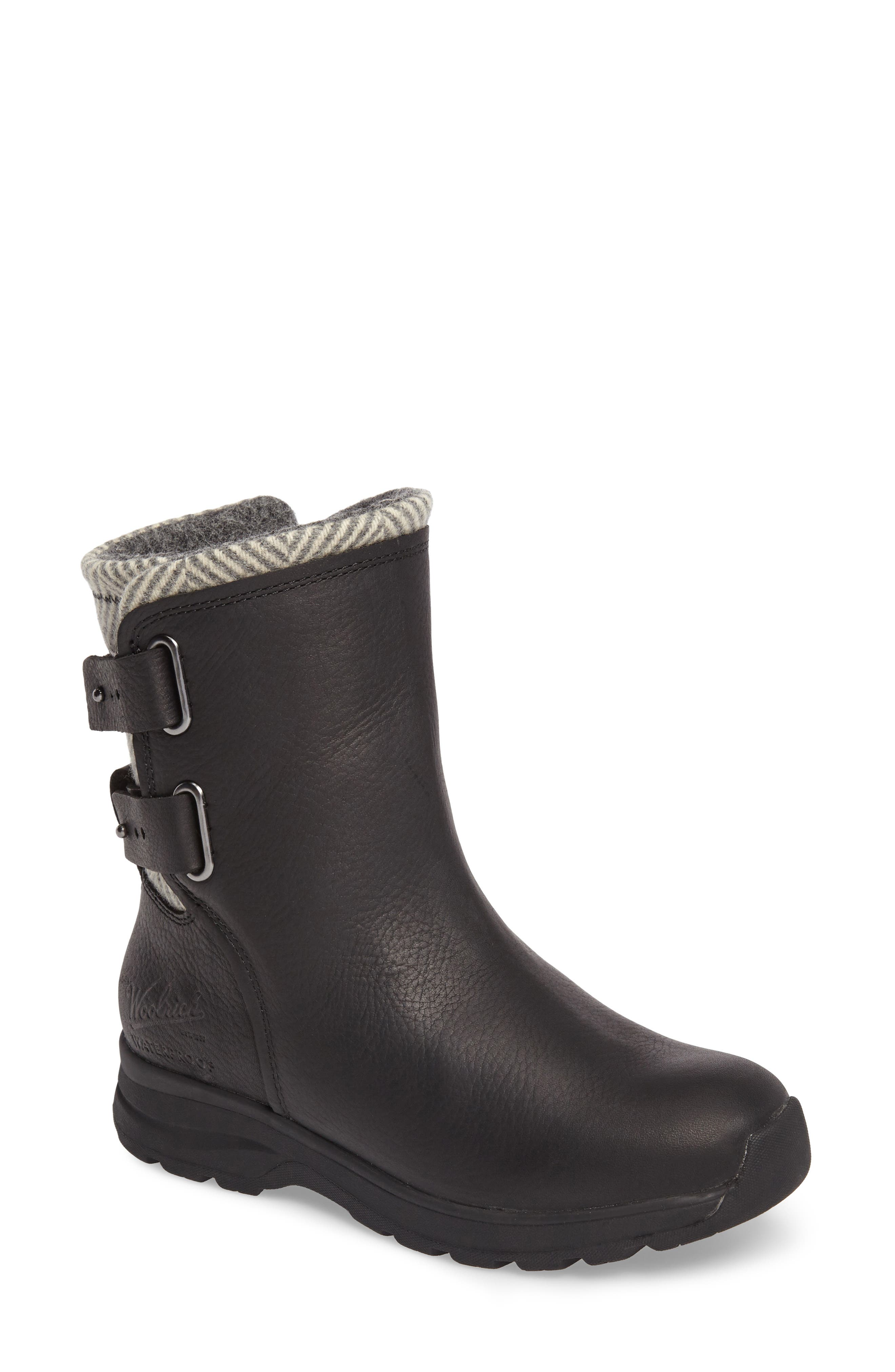 Koosa Waterproof Boot,                             Main thumbnail 1, color,                             Black Leather/ Herringbone