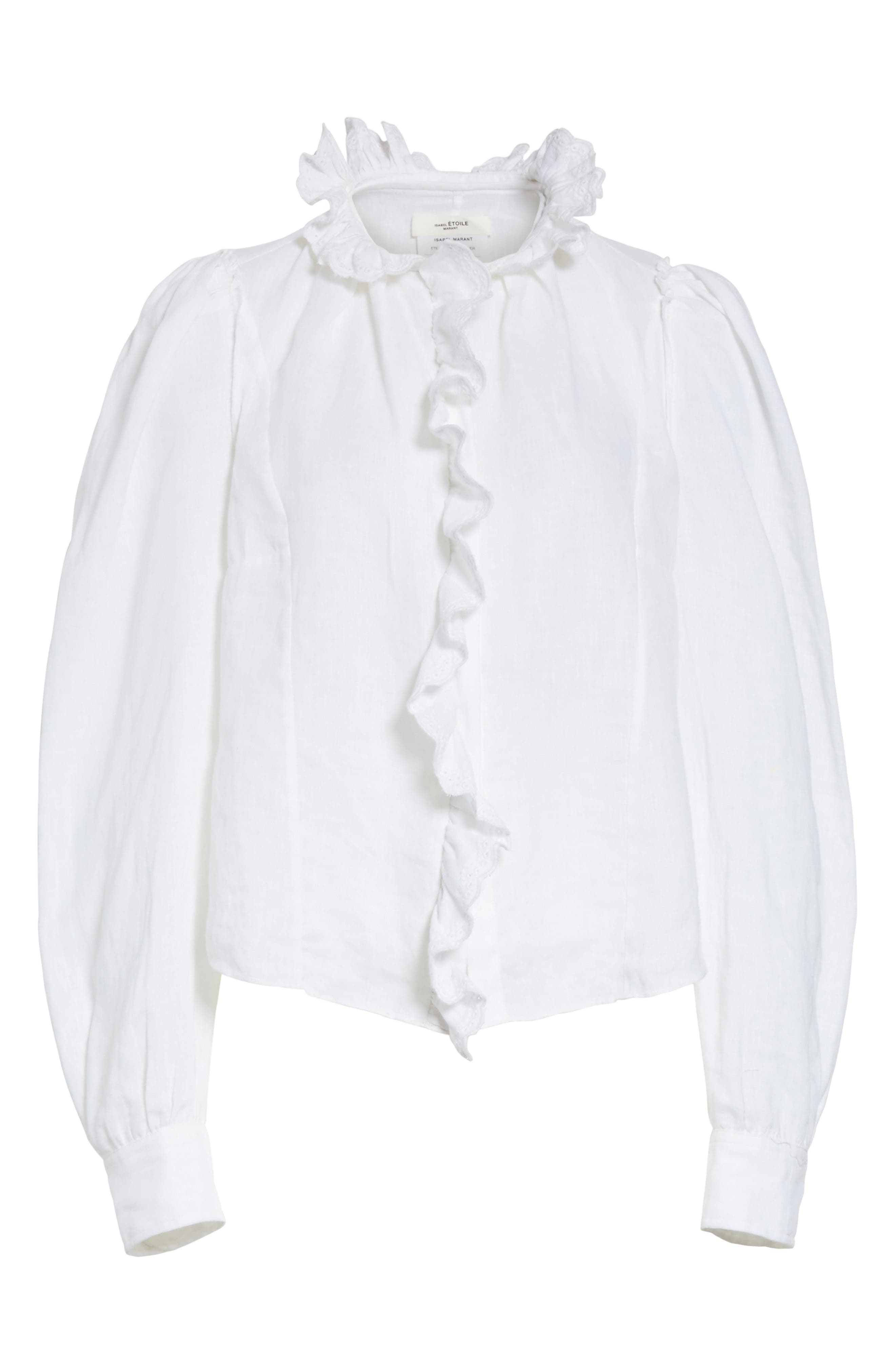 Isabel Marant Étoile Tauren Broderie Linen Shirt,                             Alternate thumbnail 6, color,                             White