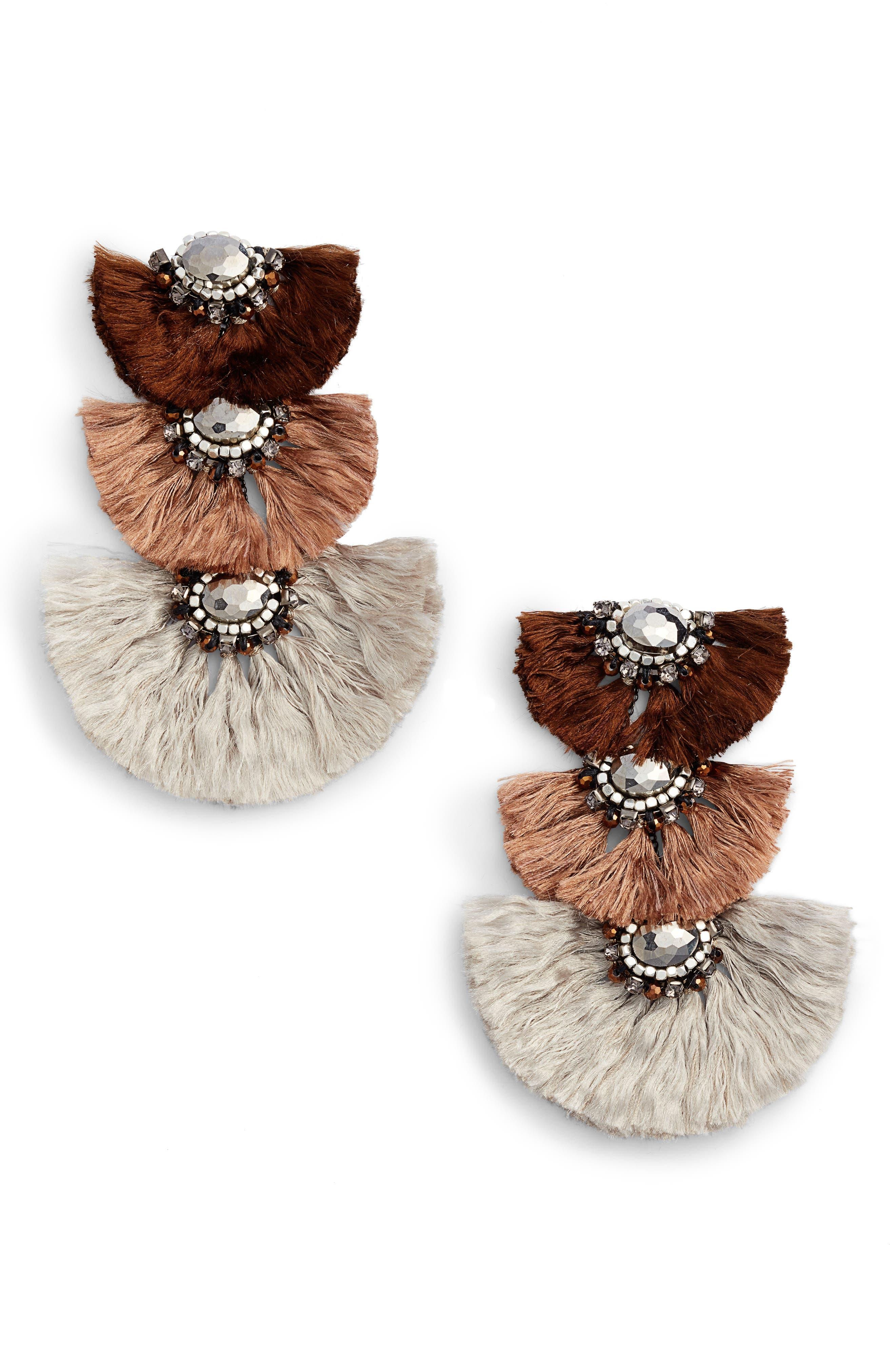 Triple Drop Fringe Earrings,                         Main,                         color, Nude