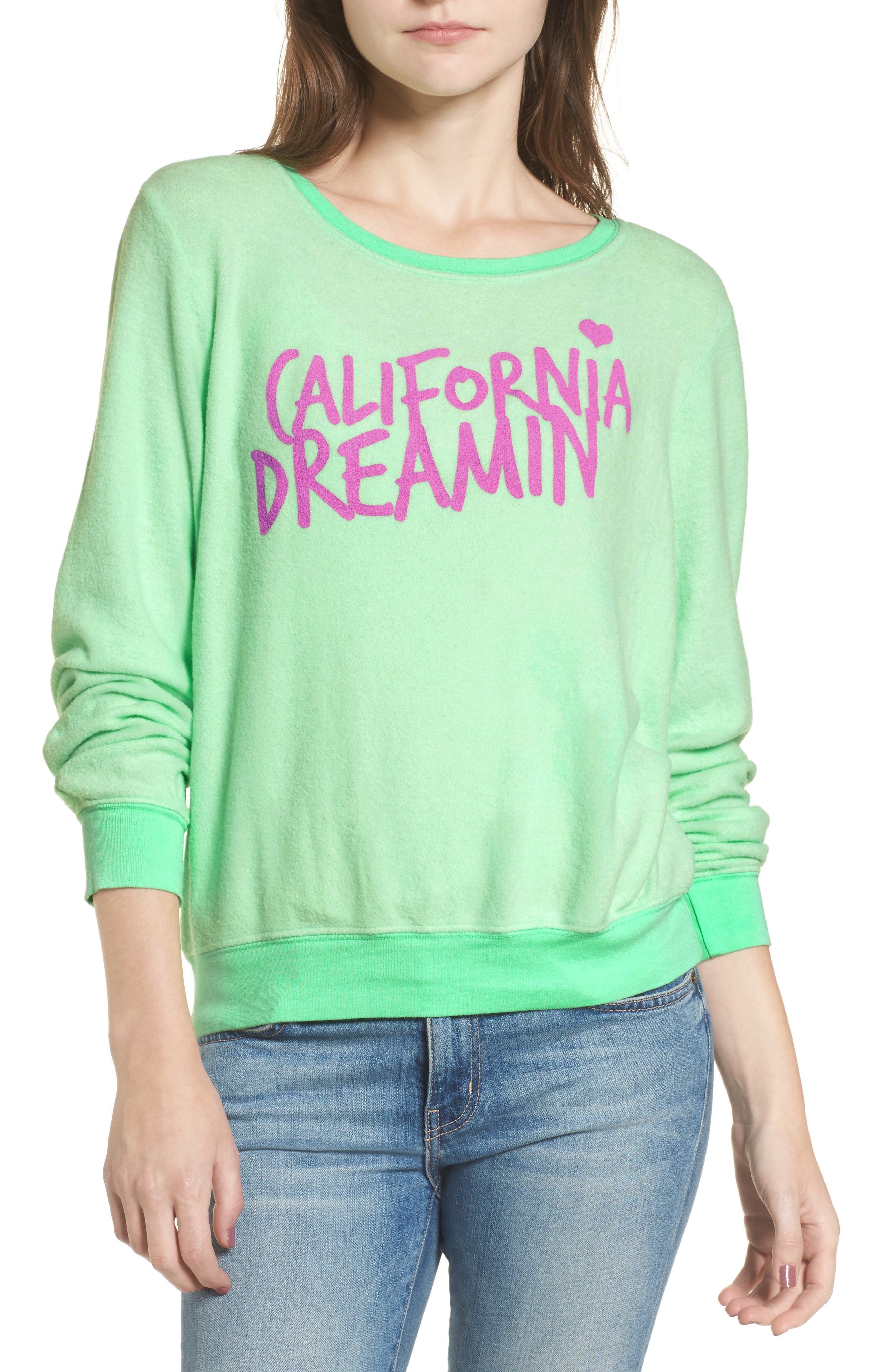 California Dreamin Sweatshirt,                             Main thumbnail 1, color,                             Mint Julep