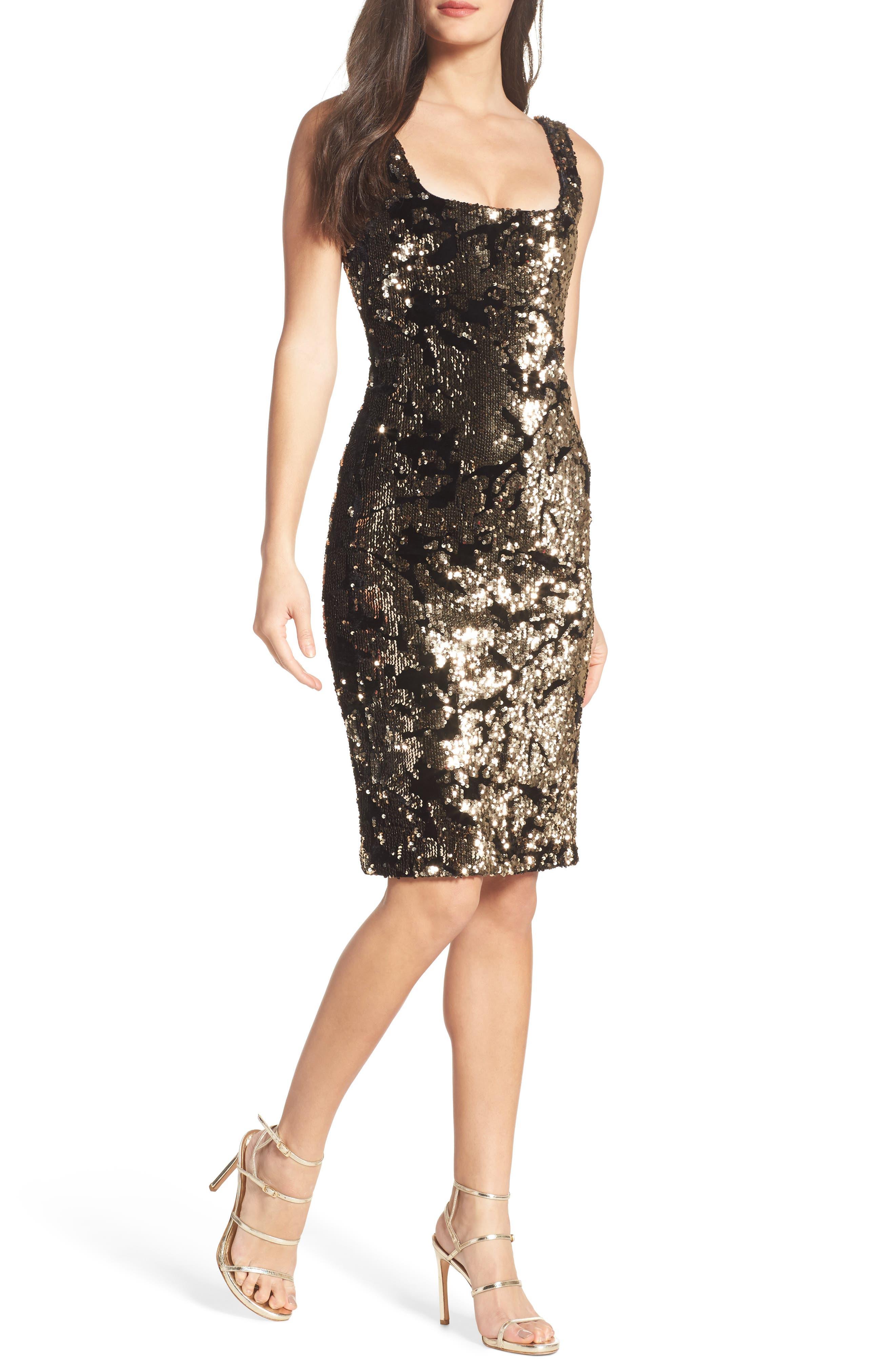 Sequin Velvet Body-Con Dress,                         Main,                         color, Gold