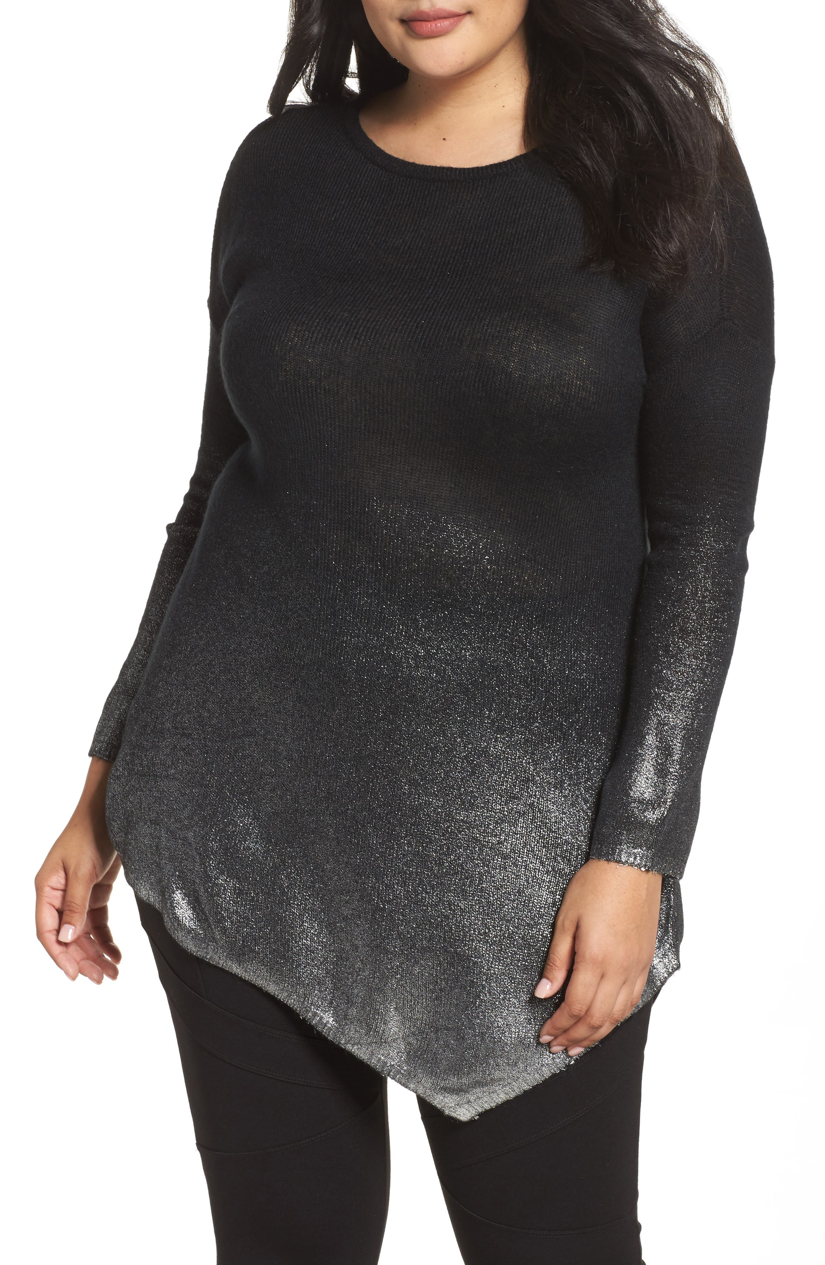 Main Image - Two by Vince Camuto Asymmetrical Metallic Ombré Sweater (Plus Size)