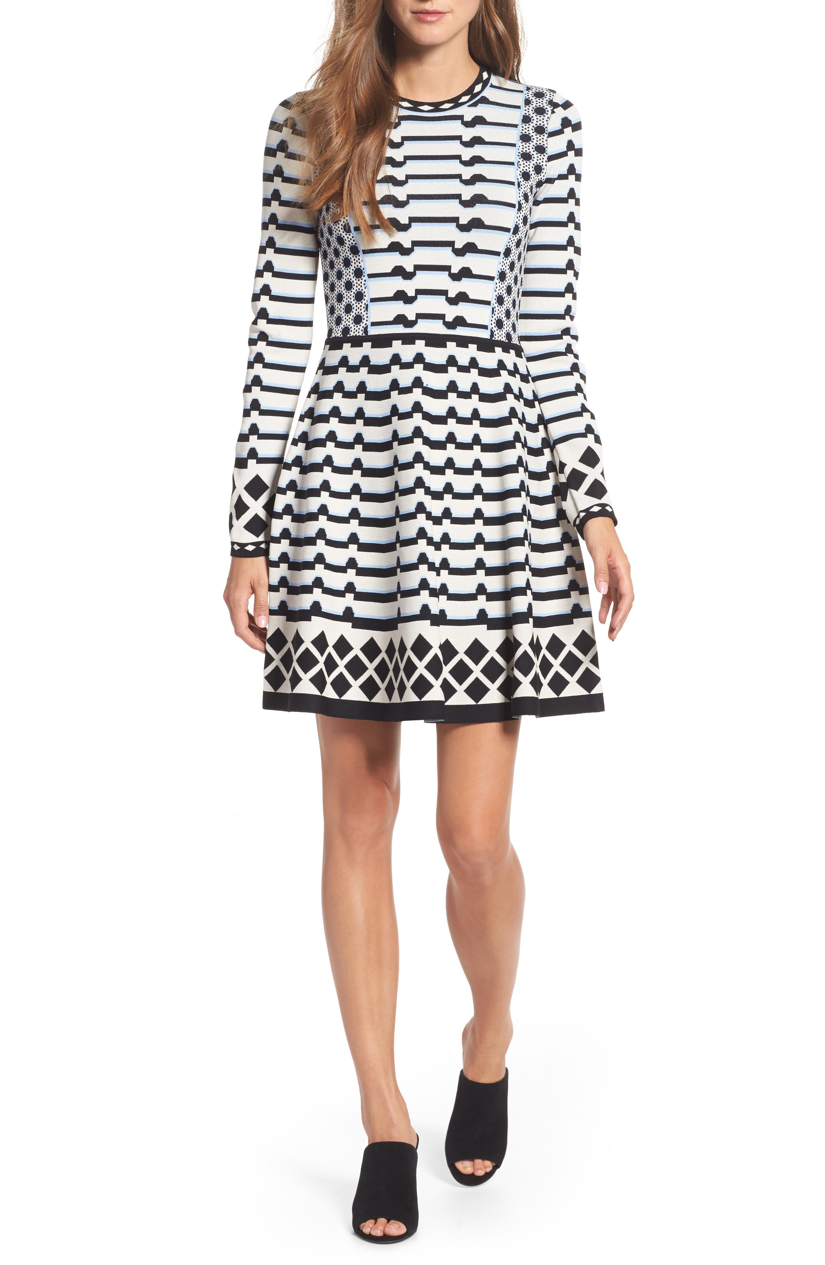 Stripe Knit Fit & Flare Dress,                         Main,                         color, Black/ Ivory/ Turquoise
