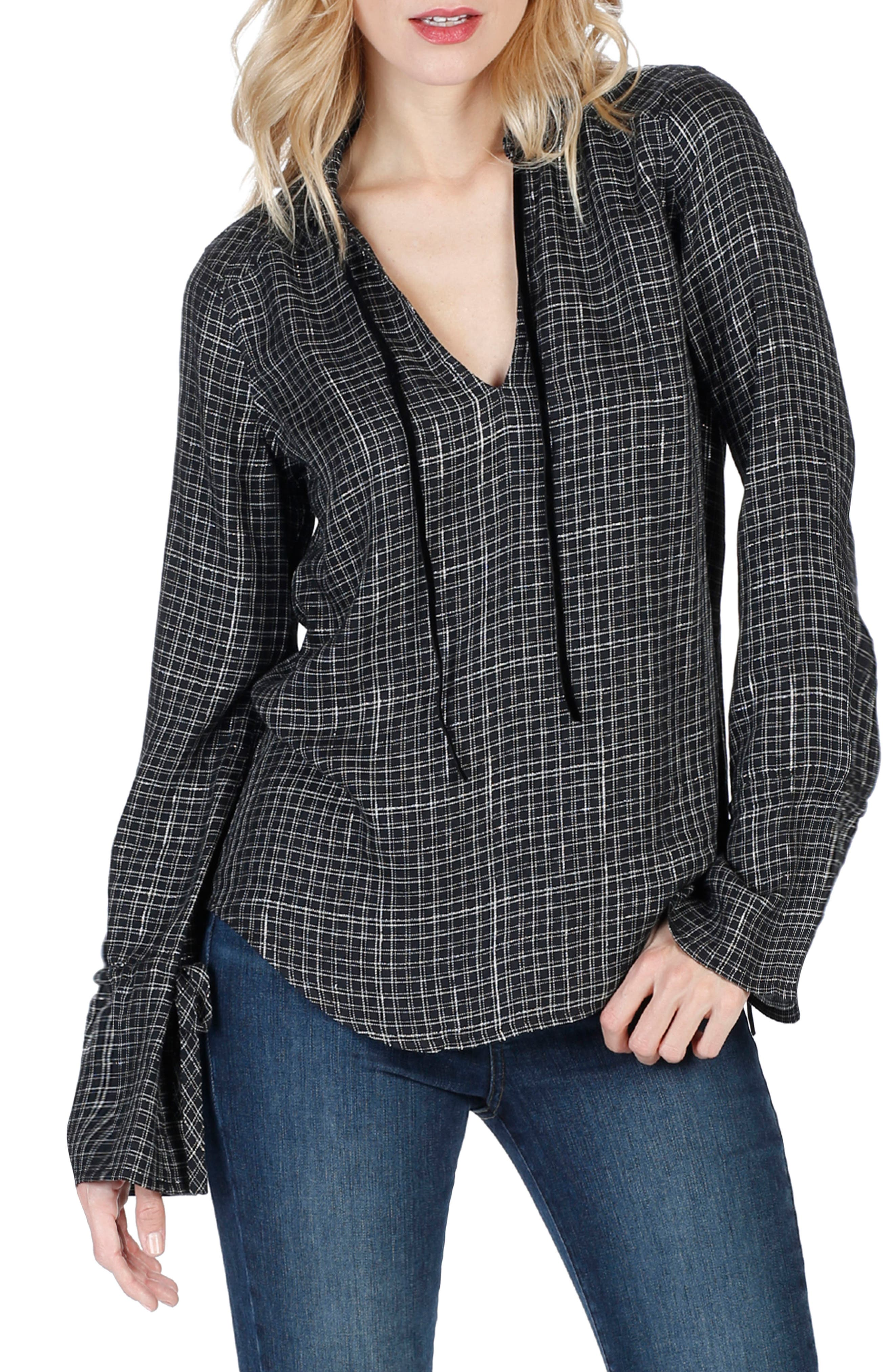 Calissa Shirt,                             Main thumbnail 1, color,                             Black Gunmetal Lurex