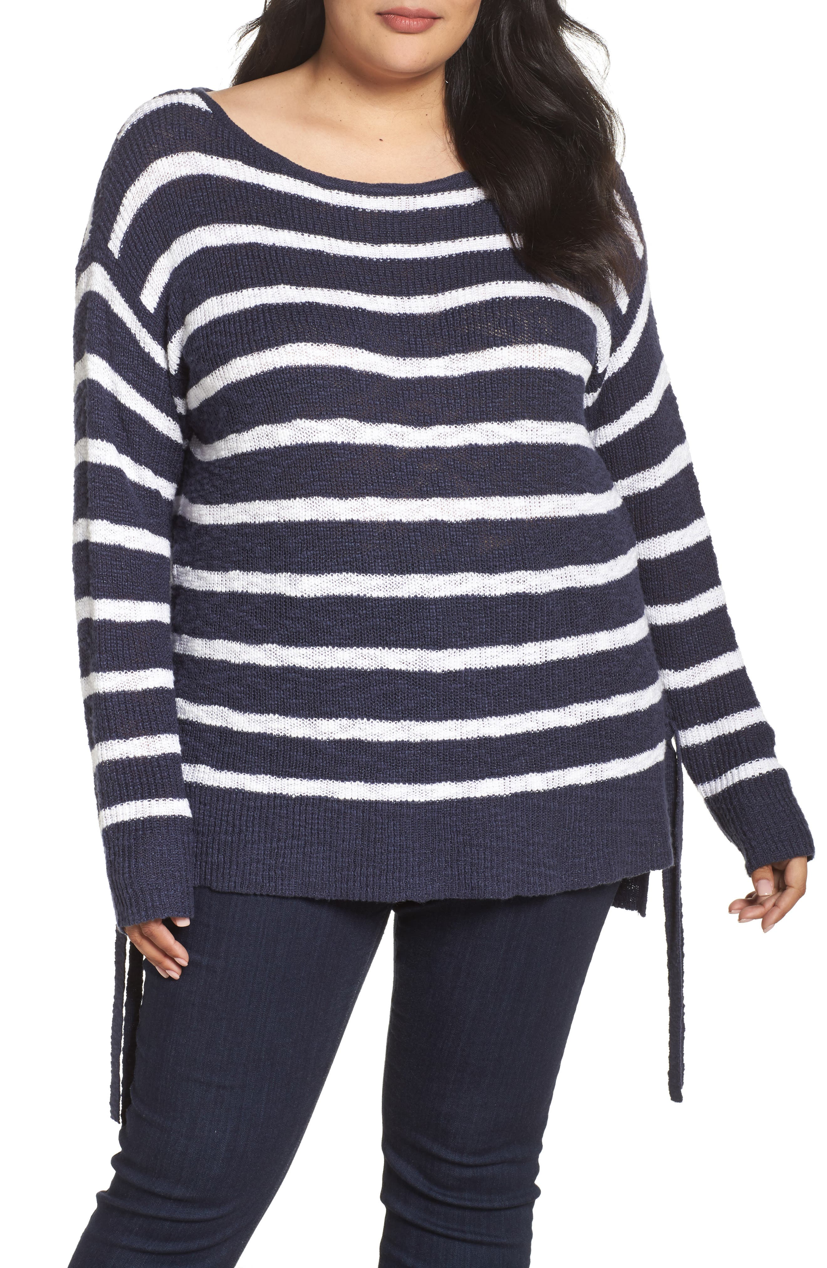 Tunic Sweater with Side Ties,                         Main,                         color, Navy- White Stripe
