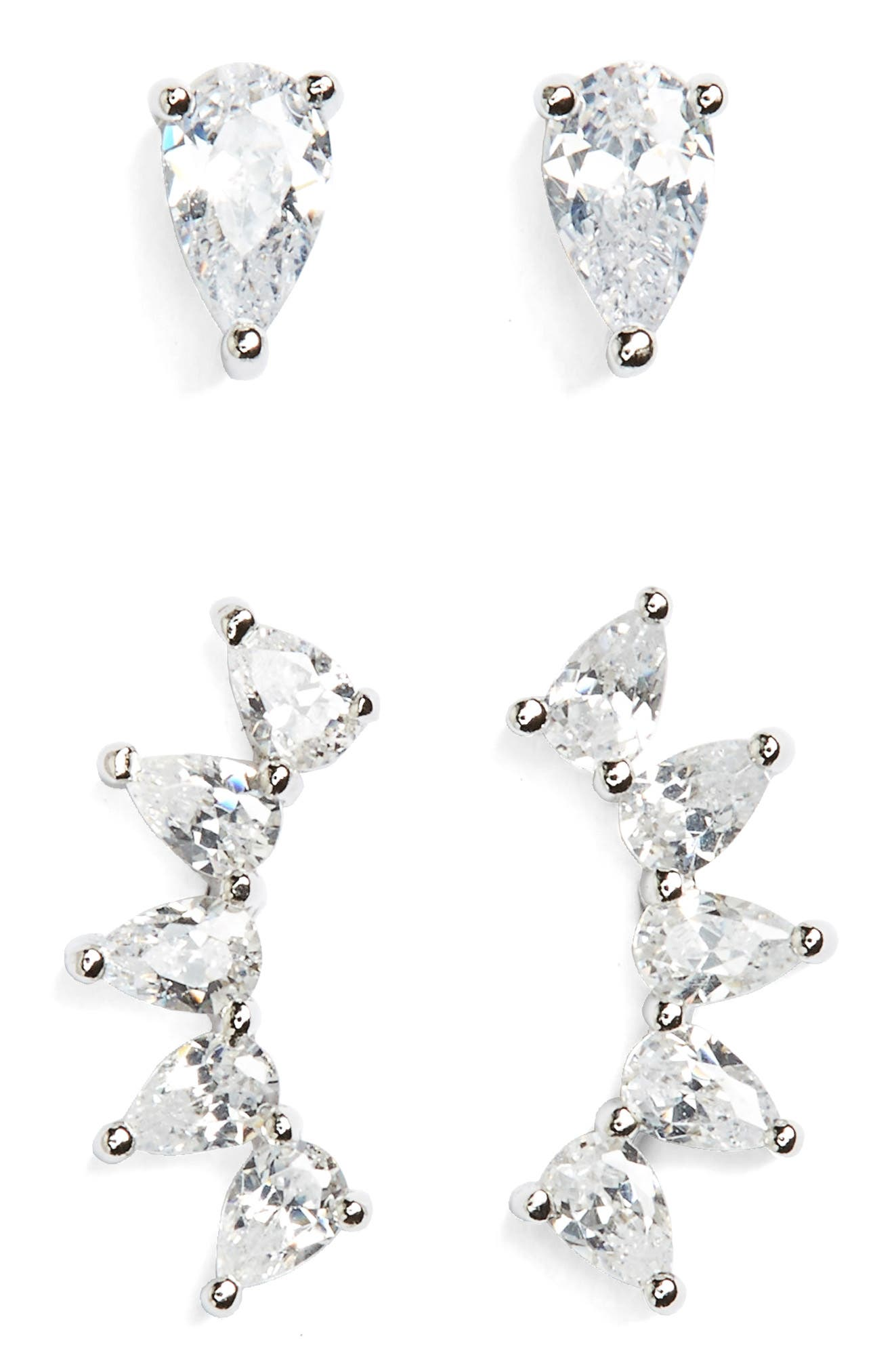 Set of 2 Pear Marquise Cubic Zirconia Earrings,                             Main thumbnail 1, color,                             Platinum
