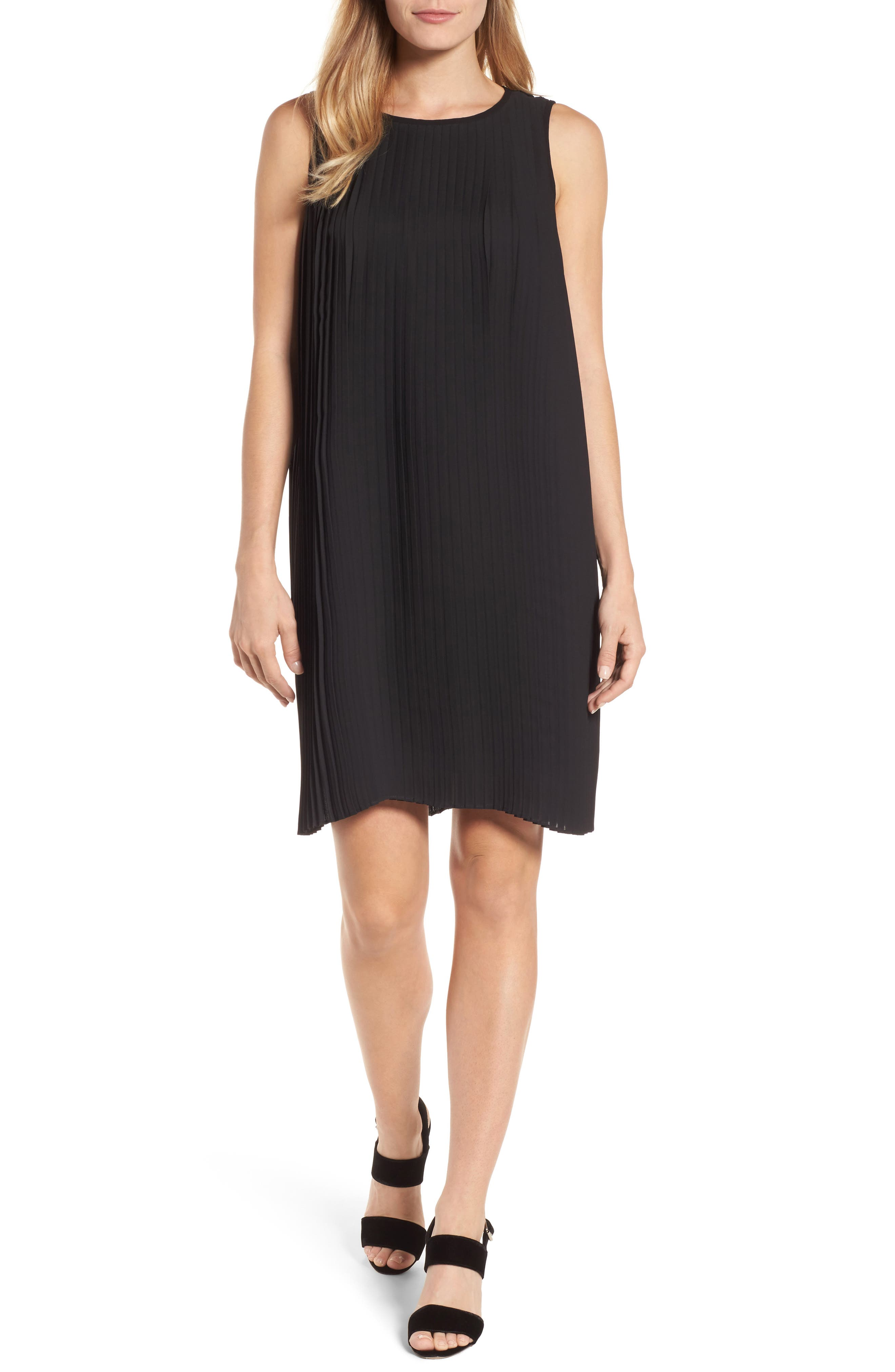 Pleated Shift Dress,                         Main,                         color, Black