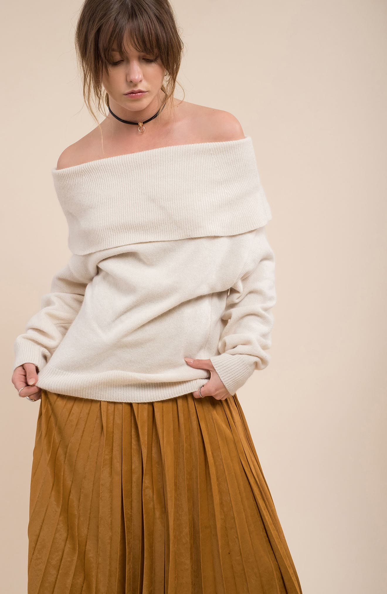 Off the Shoulder Sweater,                             Alternate thumbnail 2, color,                             Ivory