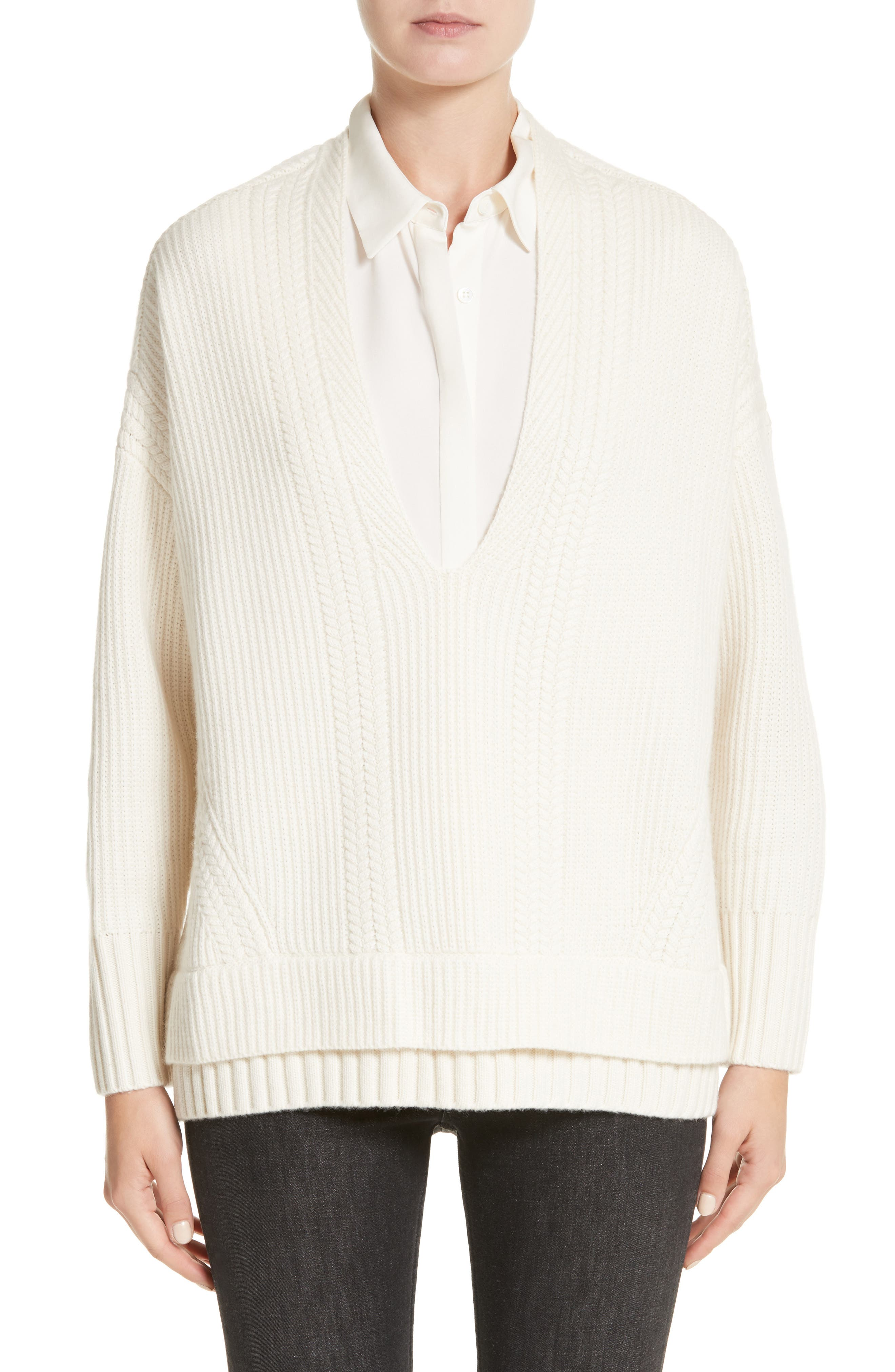 Santerno Wool & Cashmere Cable Knit Sweater,                             Main thumbnail 1, color,                             Natural White