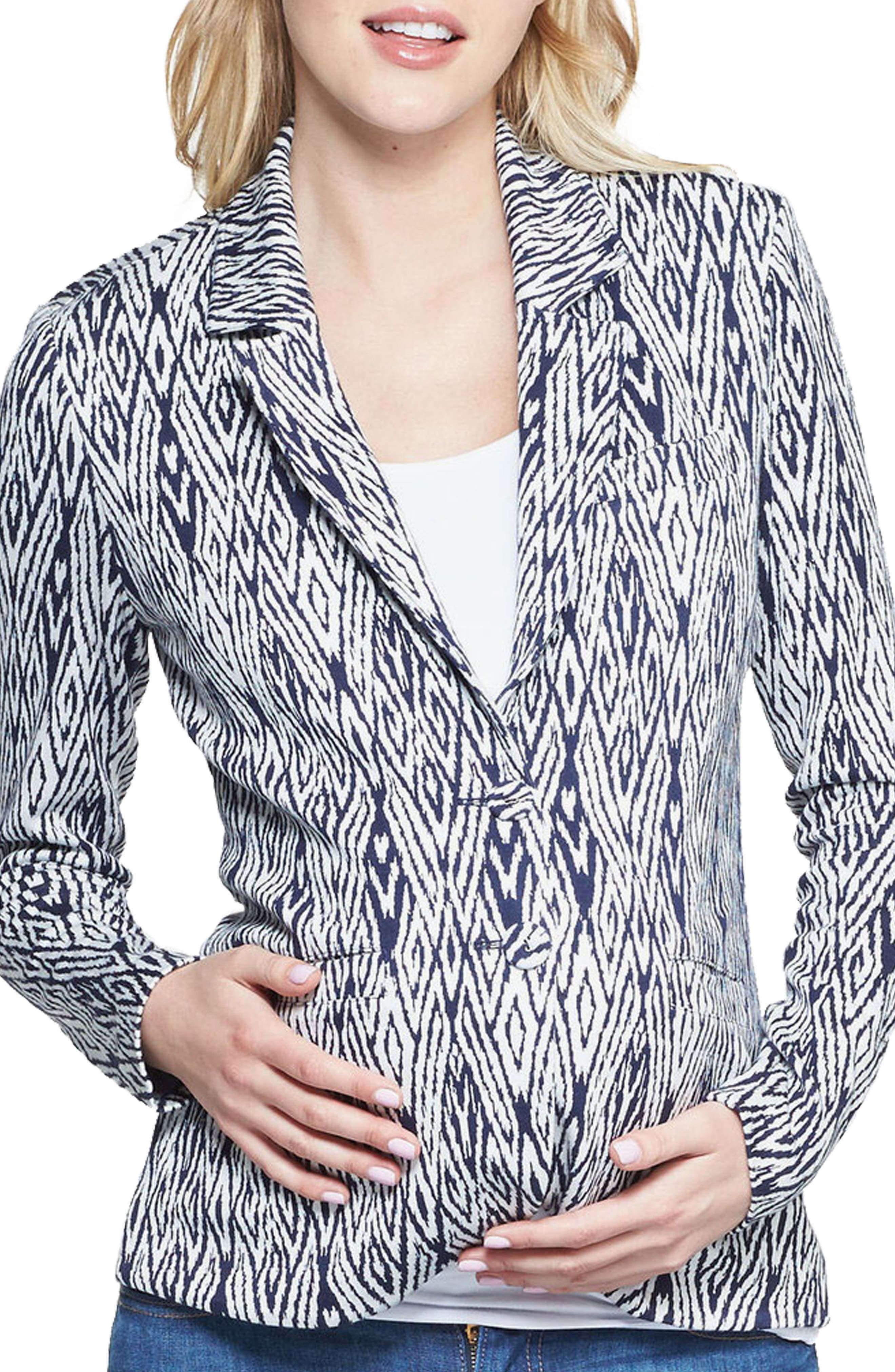 Essential Maternity Blazer,                             Main thumbnail 1, color,                             Navy/White Ikat