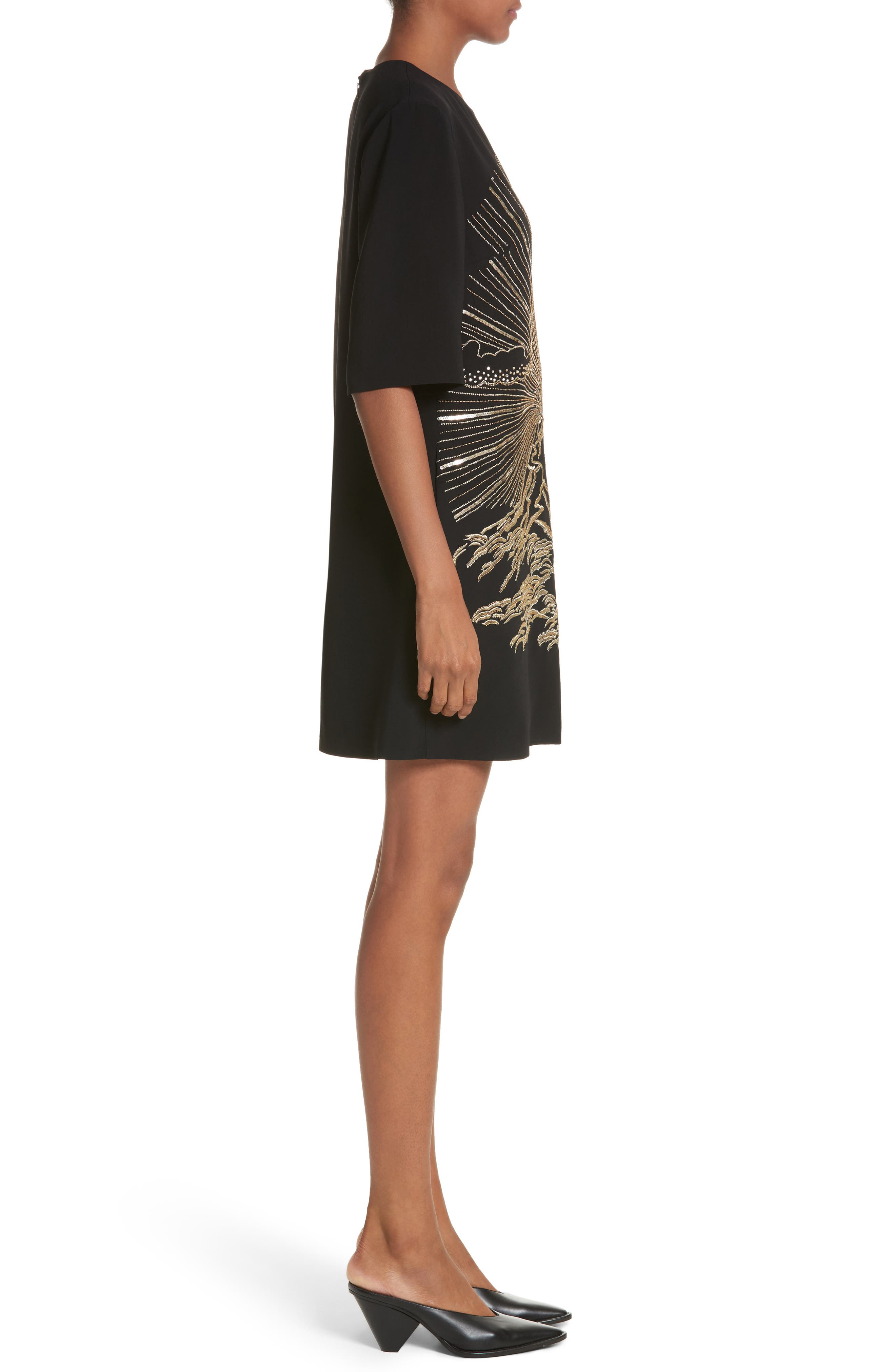 Volcano Embroidered Stretch Cady T-Shirt Dress,                             Alternate thumbnail 3, color,                             Black
