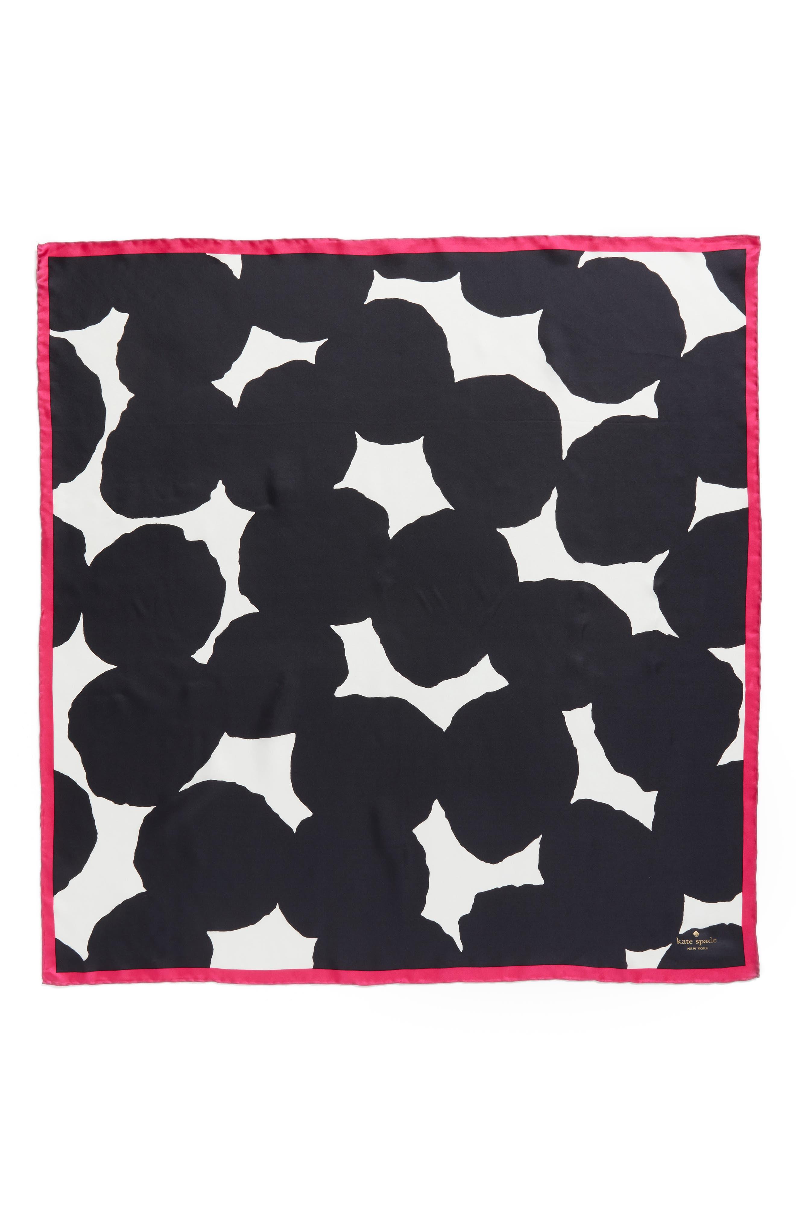 large dot square silk scarf,                             Alternate thumbnail 3, color,                             Black