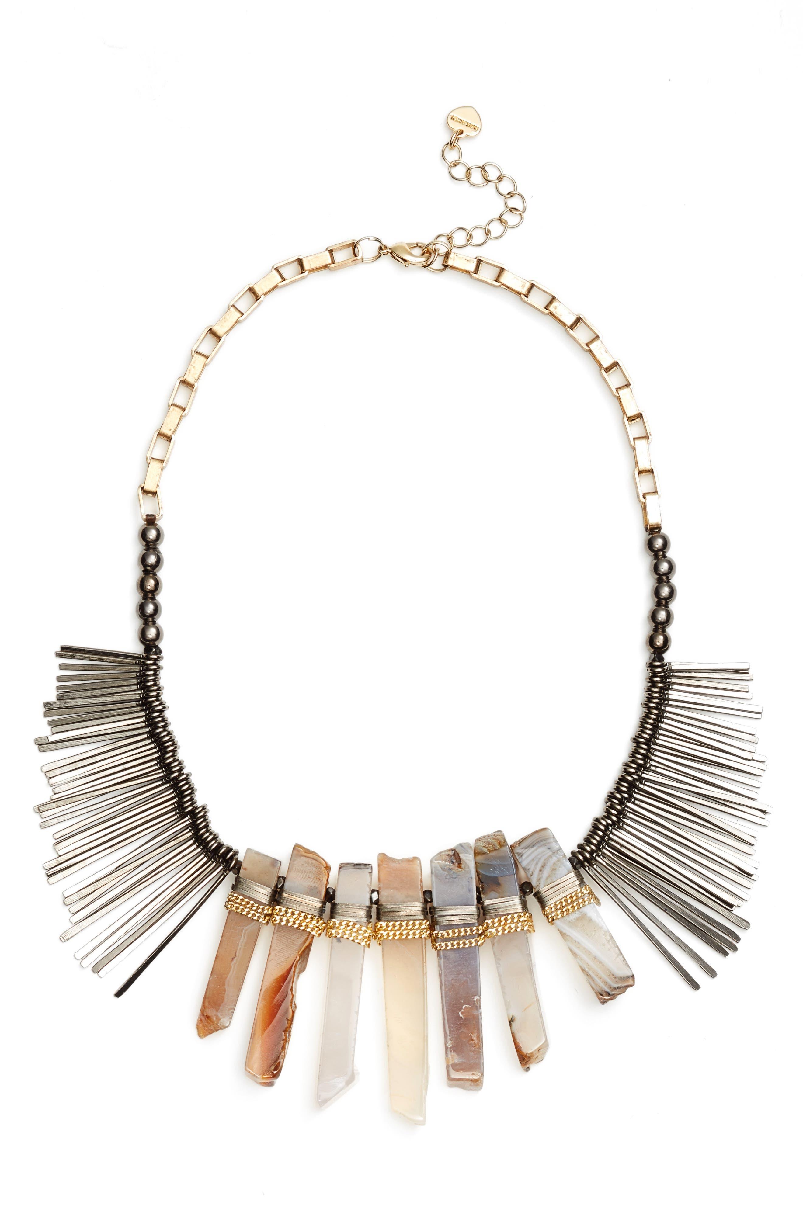 Stone Stick Bib Necklace,                         Main,                         color, Grey