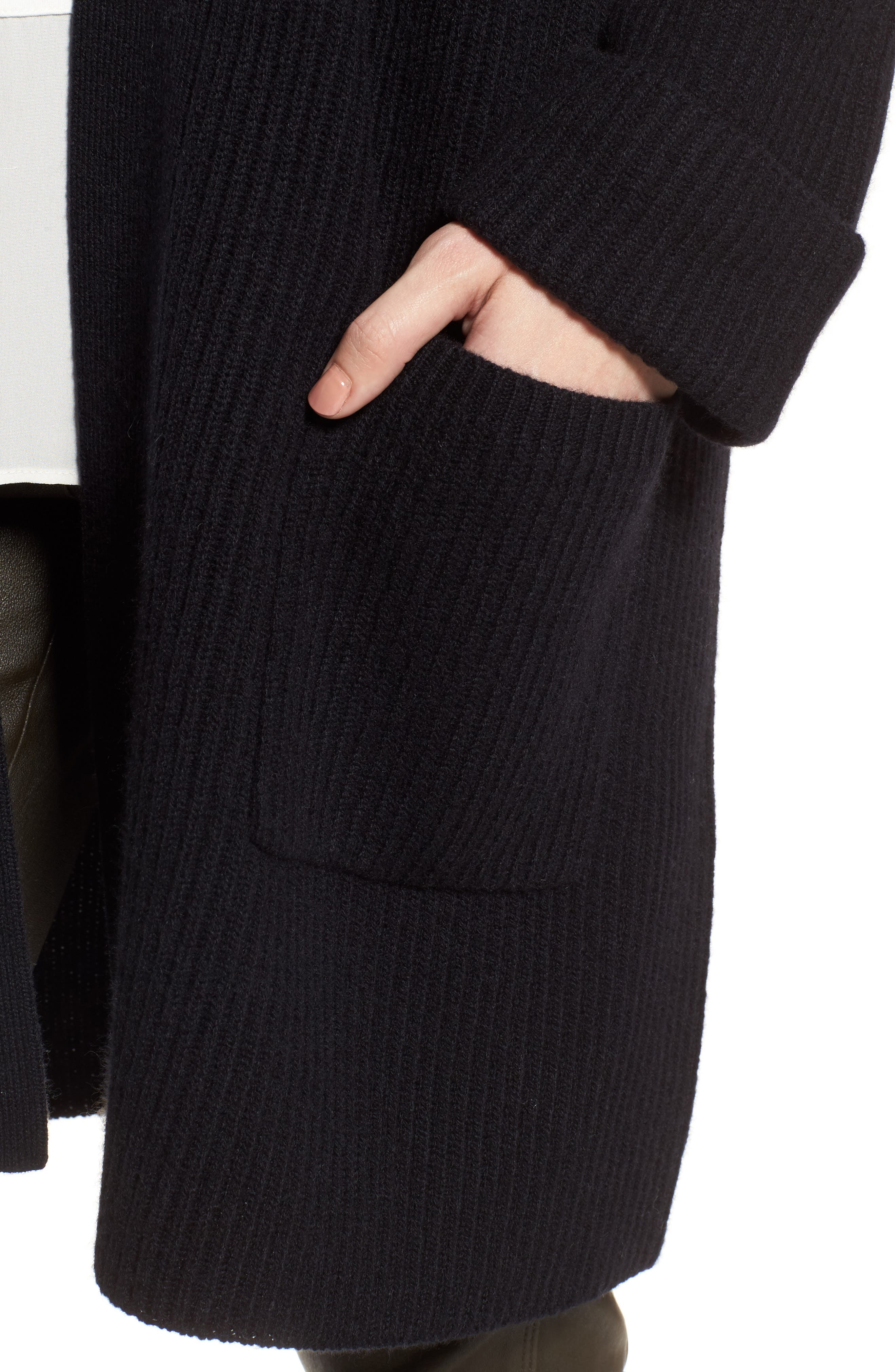 Cashmere Ribbed Open Cardigan,                             Alternate thumbnail 4, color,                             Black