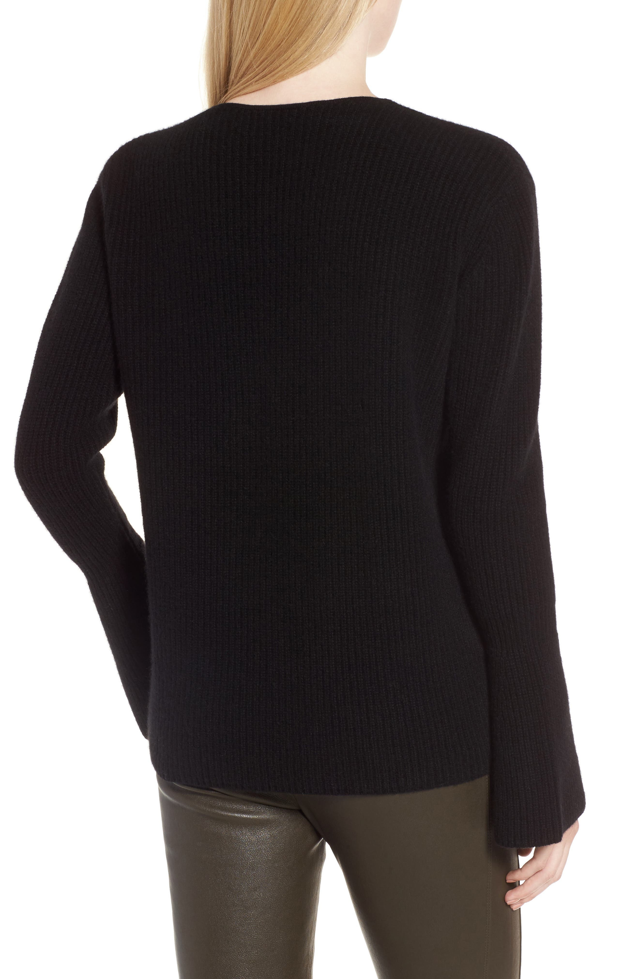 Rib Knit Cashmere Bell Sleeve Sweater,                             Alternate thumbnail 2, color,                             Black