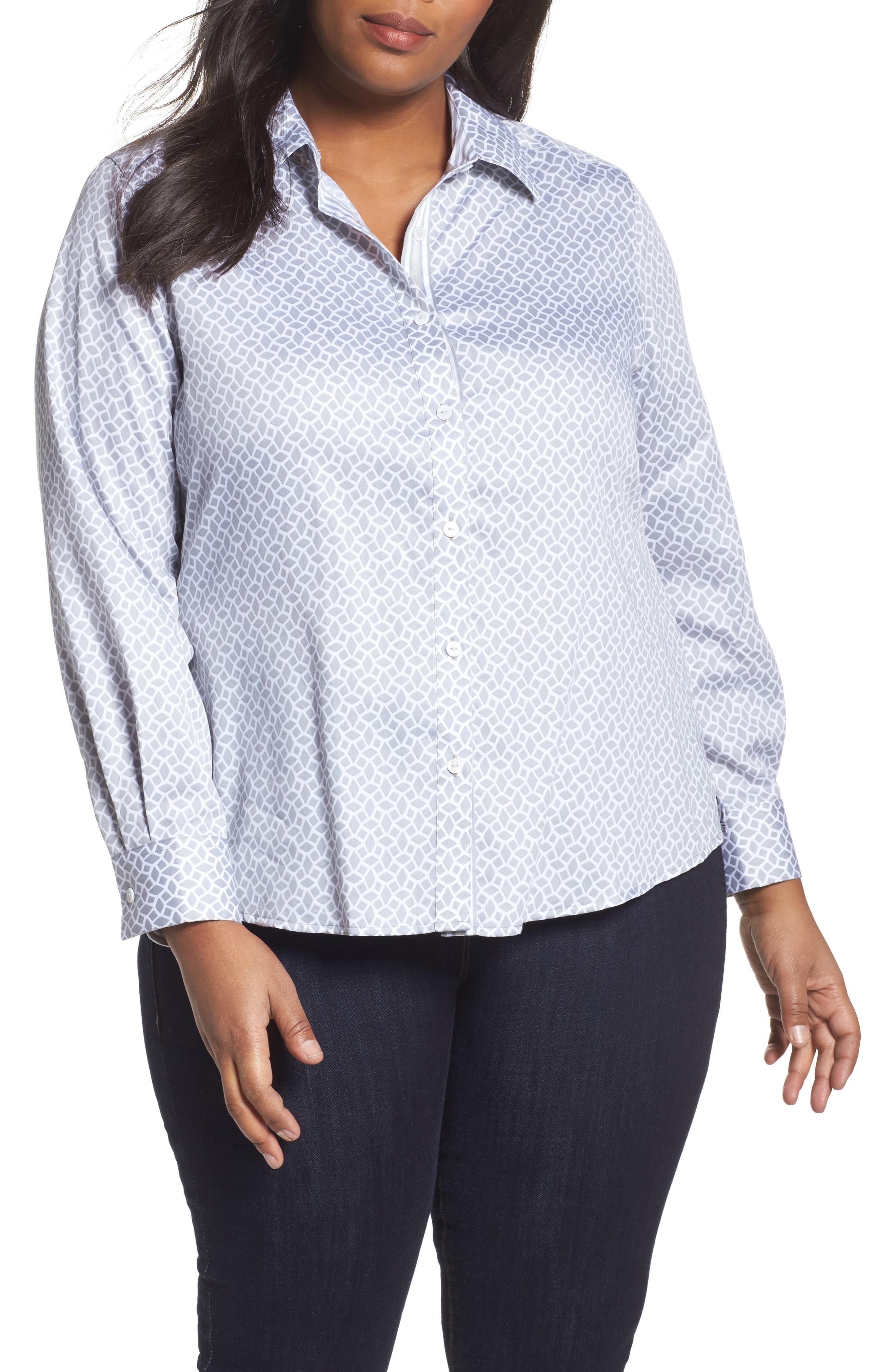 Main Image - Foxcroft Ava Geo Print Shirt (Plus Size)