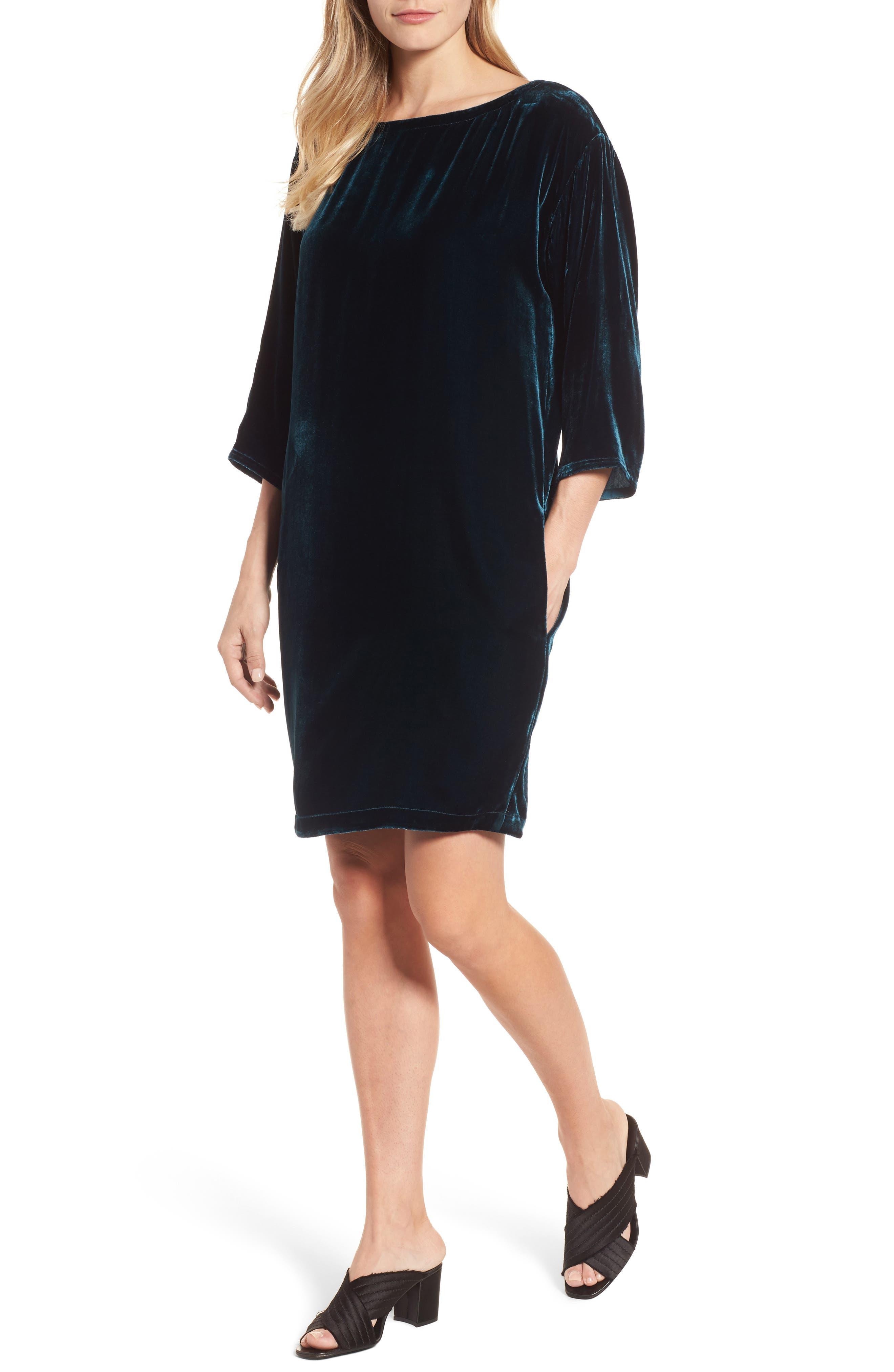 Velvet Shift Dress,                             Main thumbnail 1, color,                             Blue Spruce