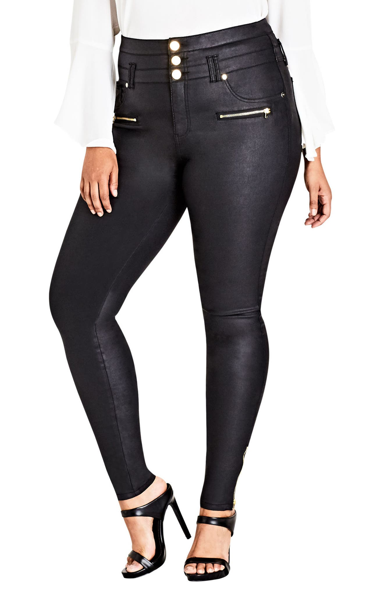 Alternate Image 1 Selected - City Chic Pick Me Up Stretch Skinny Jeans (Plus Size)