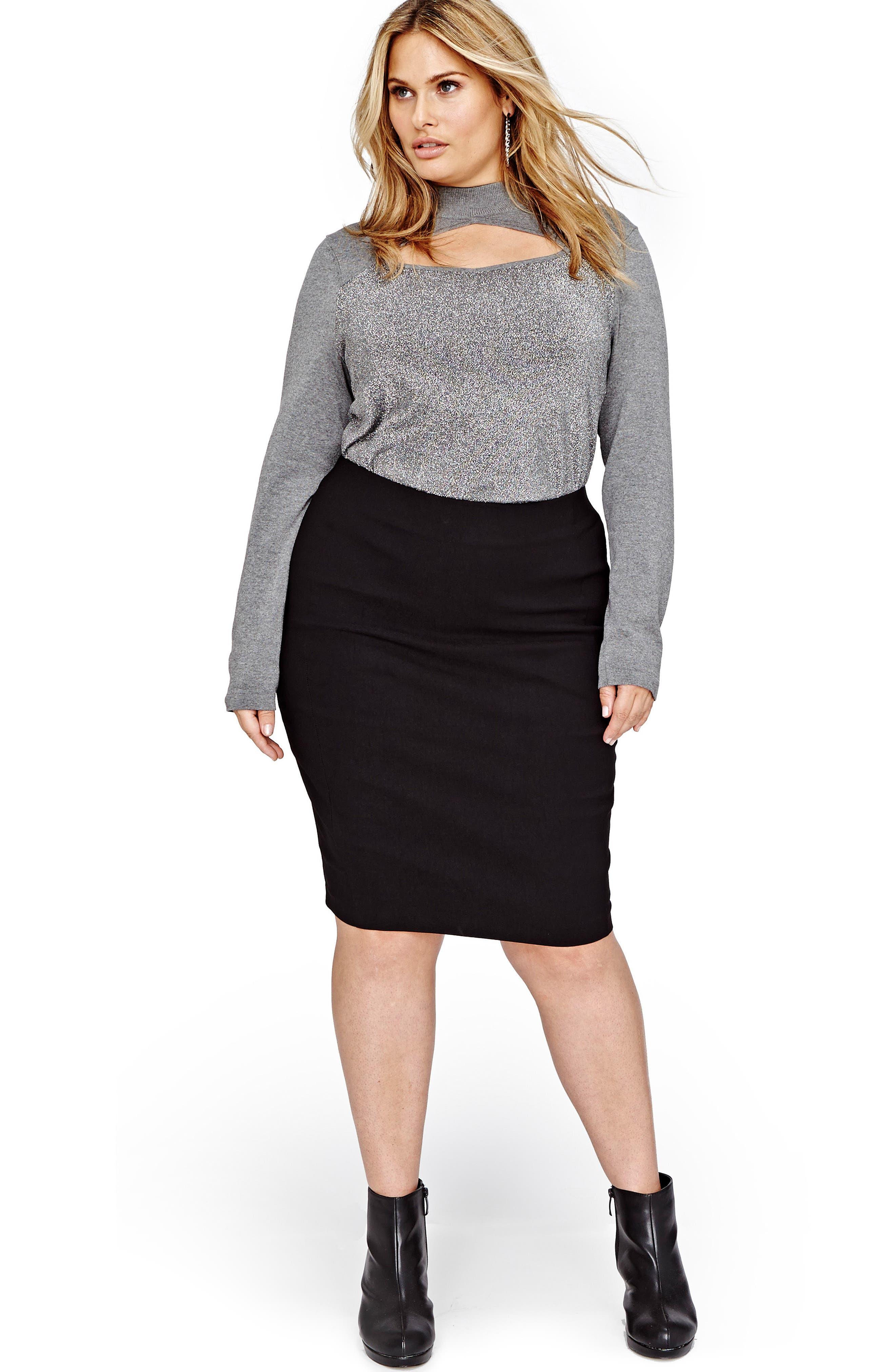 Peekaboo Cutout Sweater,                             Alternate thumbnail 3, color,                             Med Grey Mix