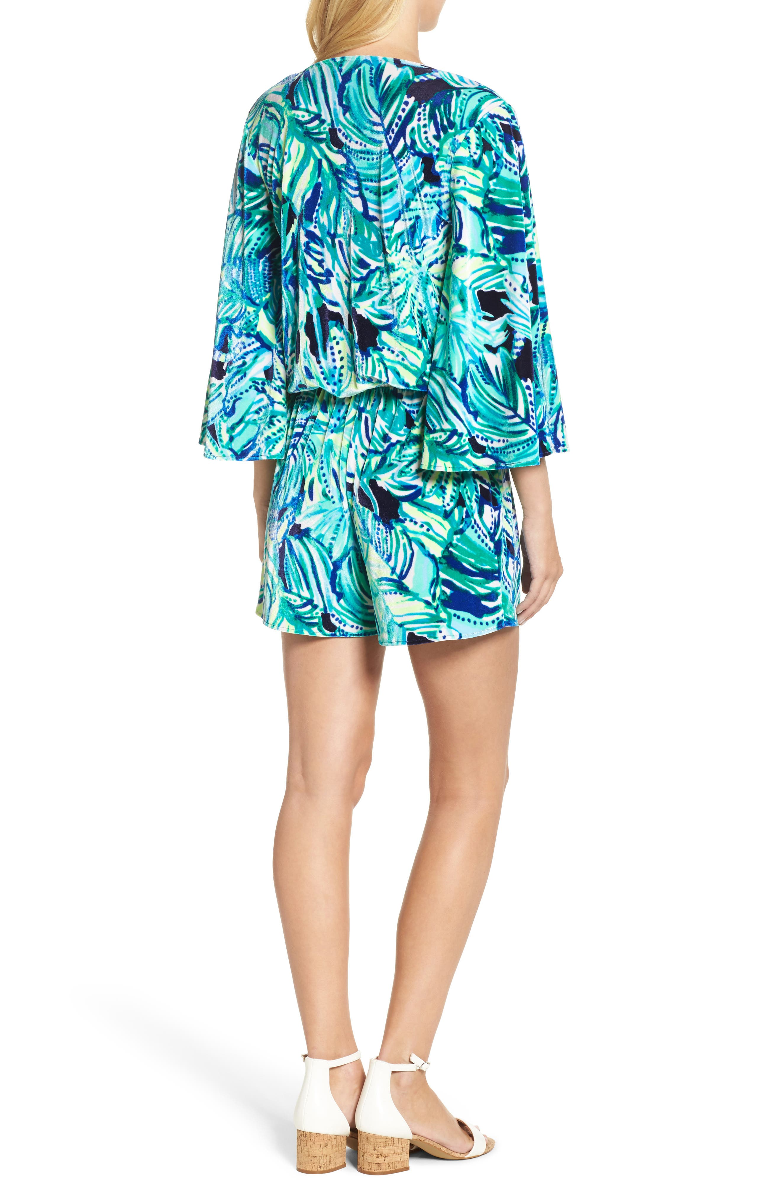 Lily Pulitzer<sup>®</sup> Viviana Romper,                             Alternate thumbnail 2, color,                             Bright Navy Dally