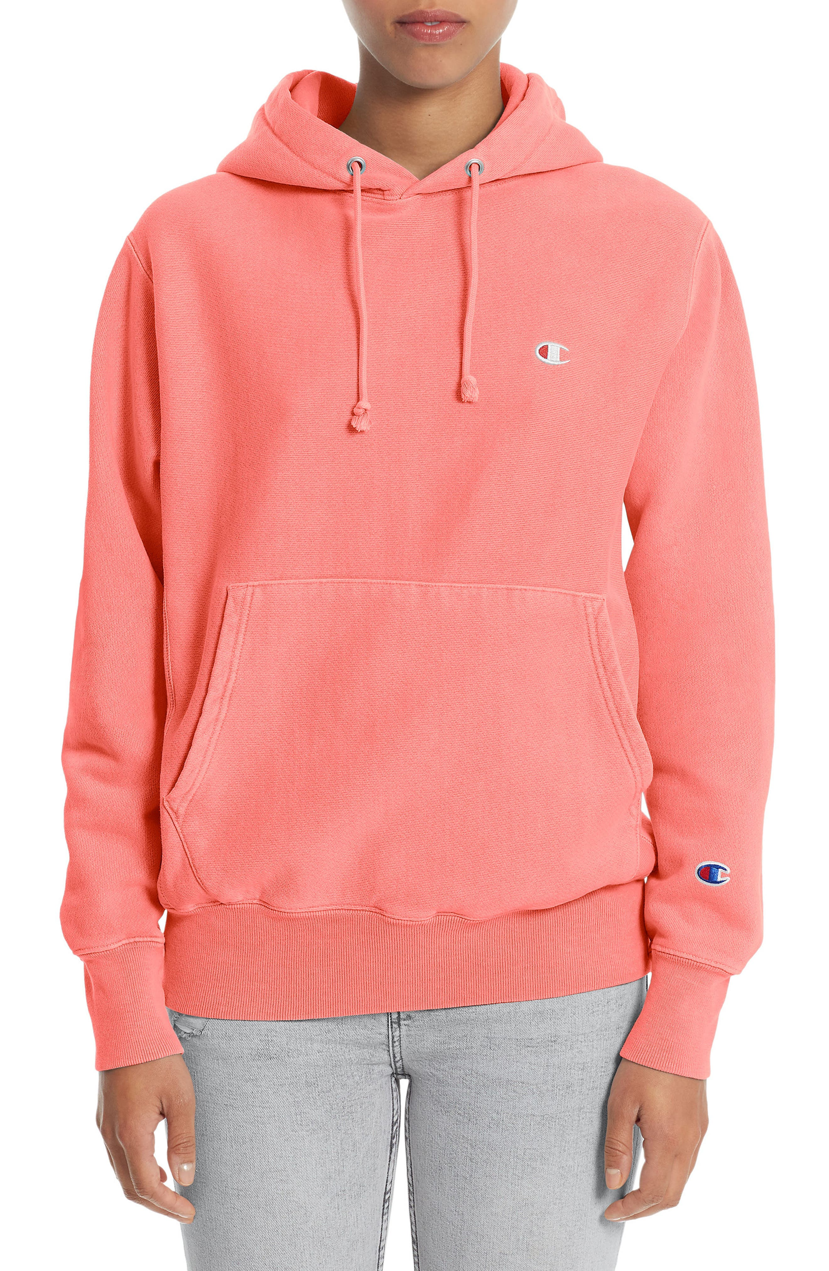 Reverse Weave<sup>®</sup> Pullover Hoodie,                             Main thumbnail 1, color,                             Sizzling Orange