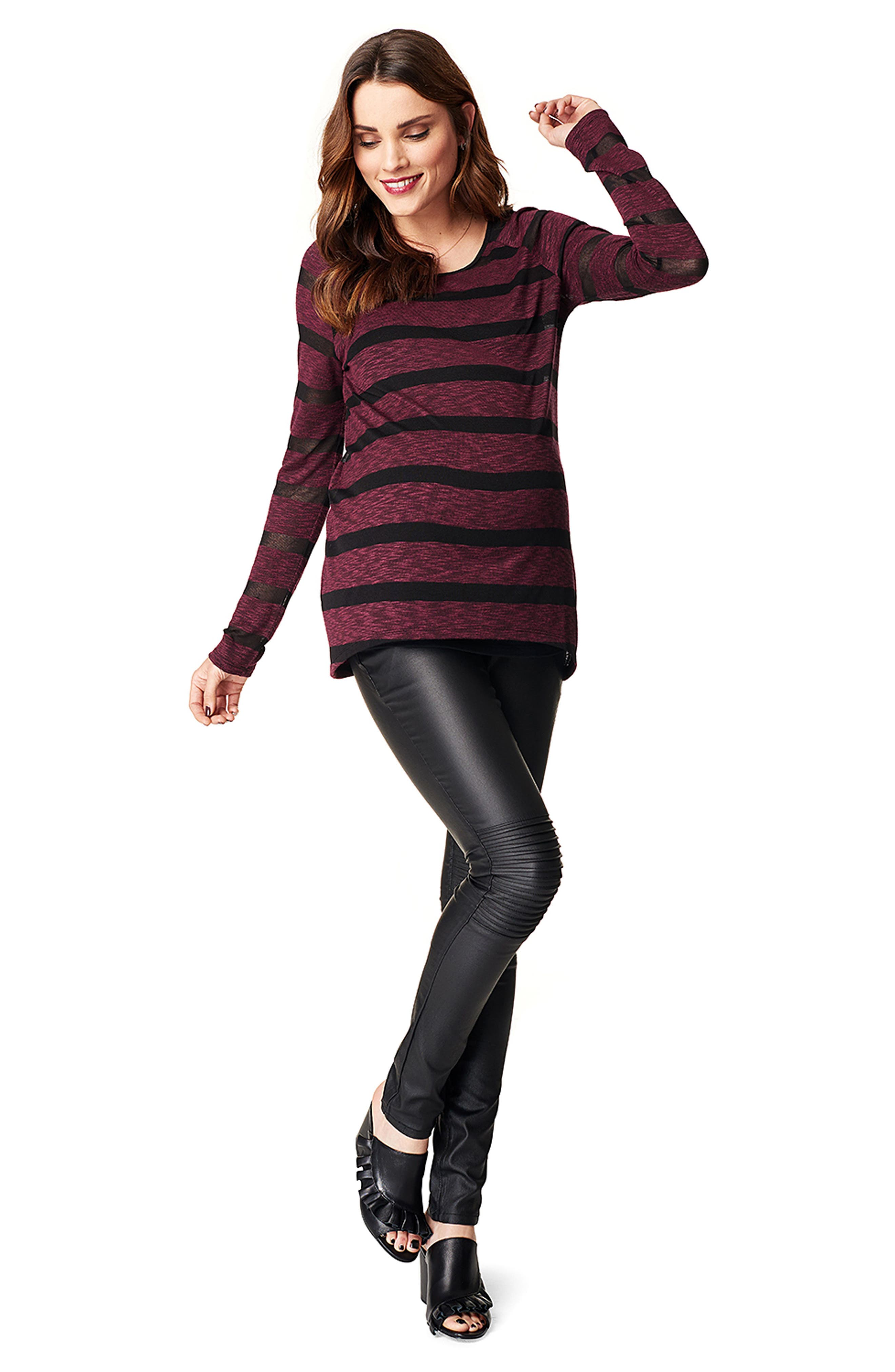 Stripe Maternity Tunic,                             Alternate thumbnail 2, color,                             Wine