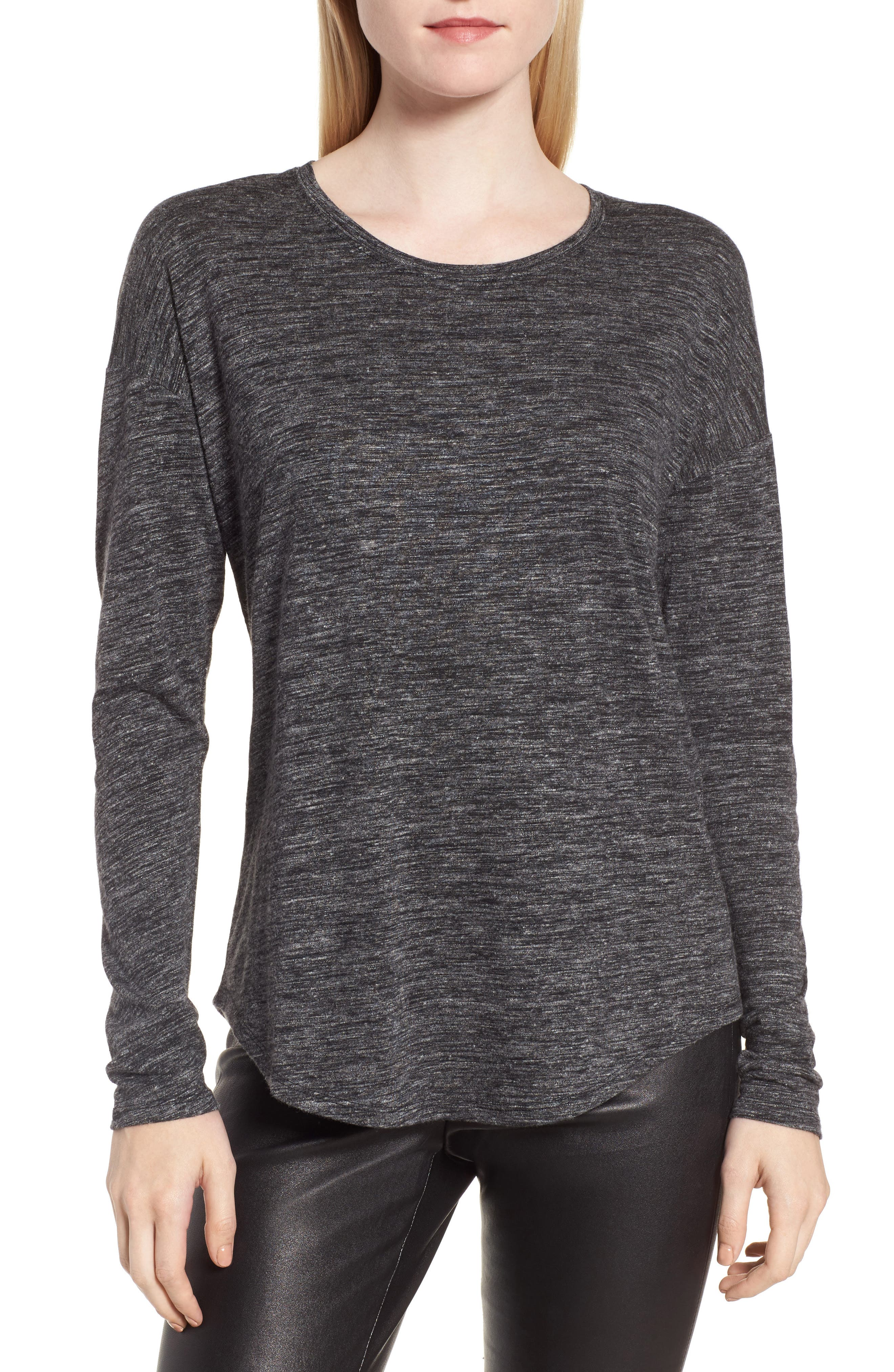 Long Sleeve Knit Tee,                         Main,                         color, Black- White Space Dye