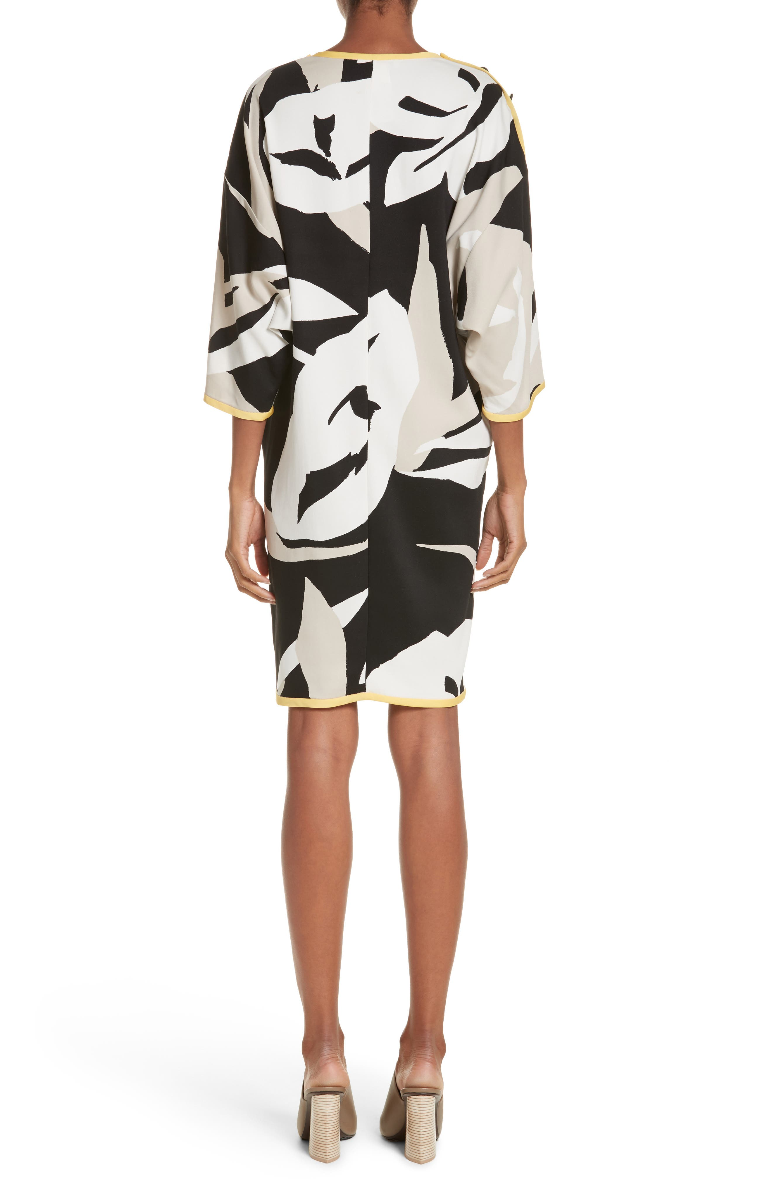 Leva Print Shift Dress,                             Alternate thumbnail 2, color,                             Black