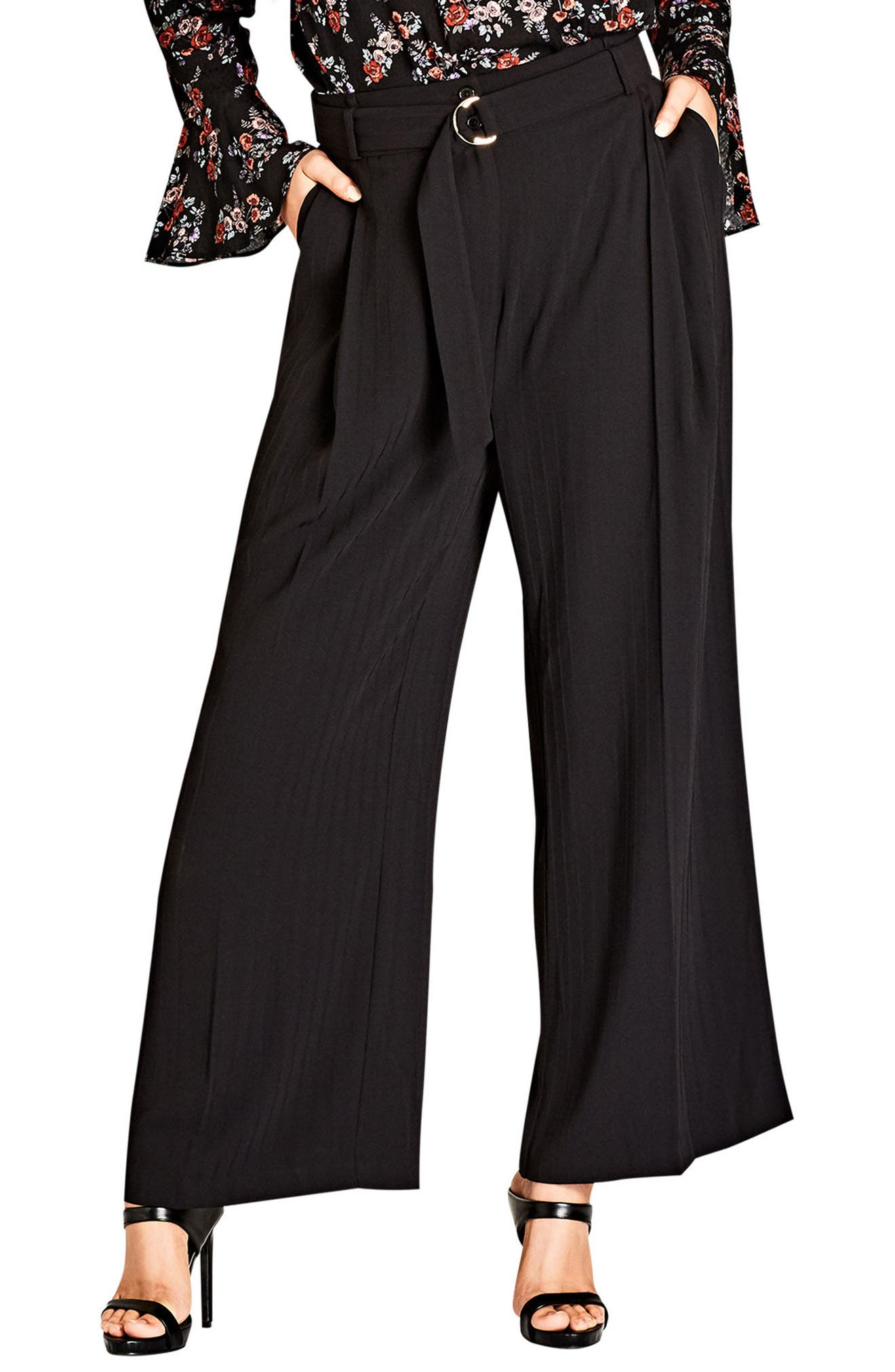 City Chic Tonal Stripe Wide Leg Pants (Plus Size)