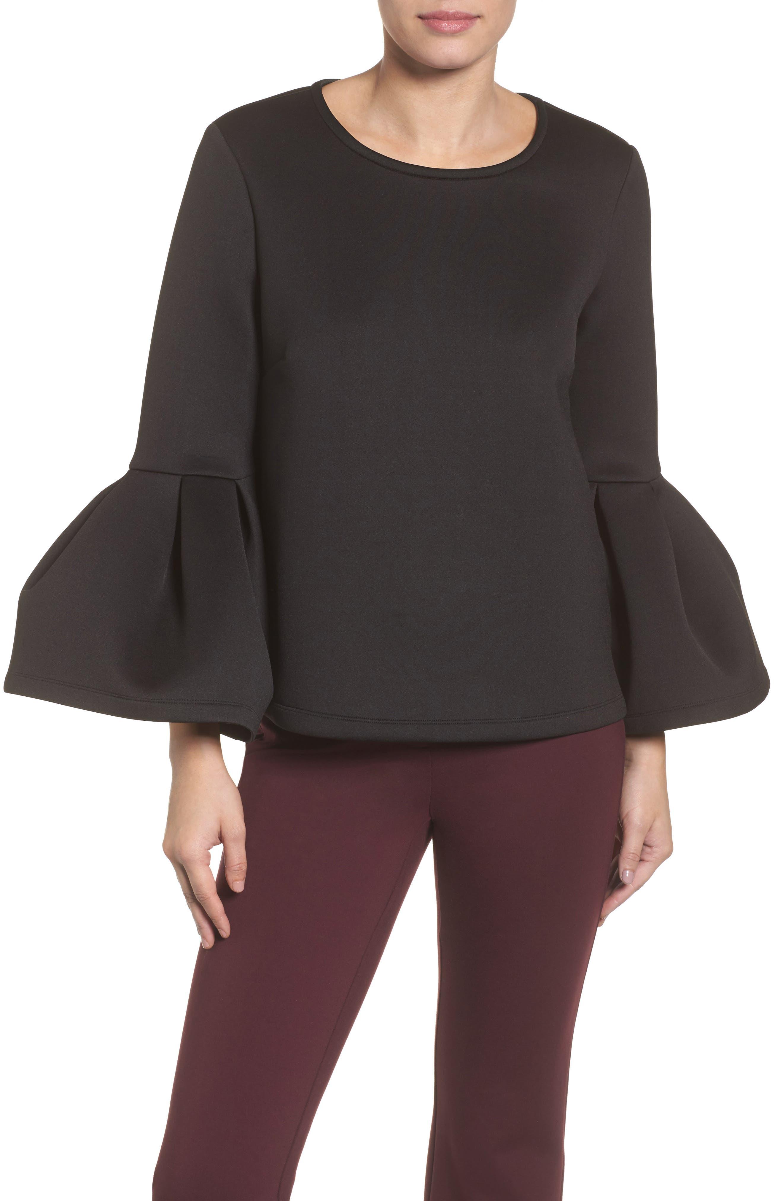 Neoprene Drama Sleeve Top,                         Main,                         color, Black