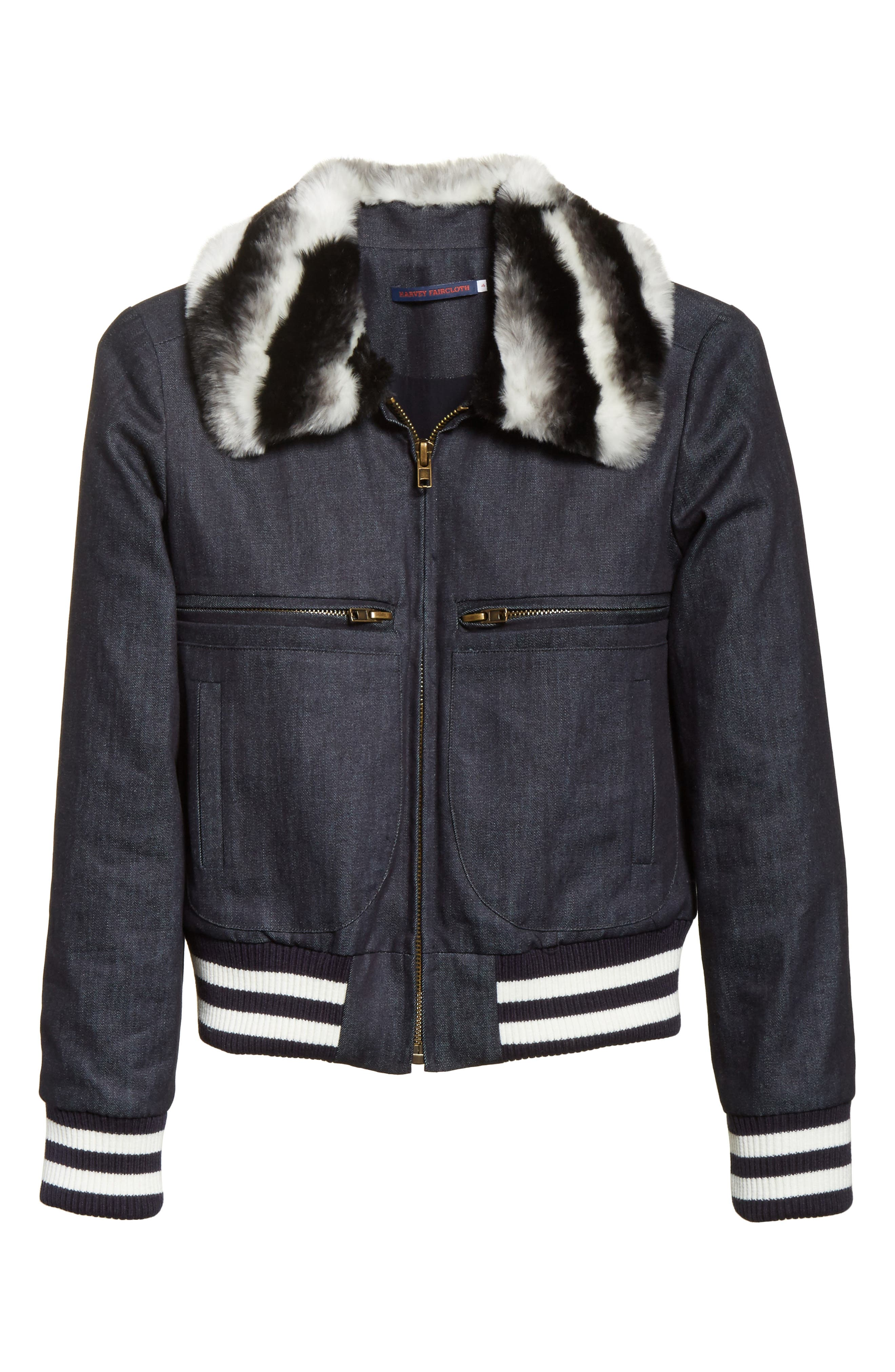 Alternate Image 7  - Harvey Faircloth Faux Fur Collar Bomber Jacket