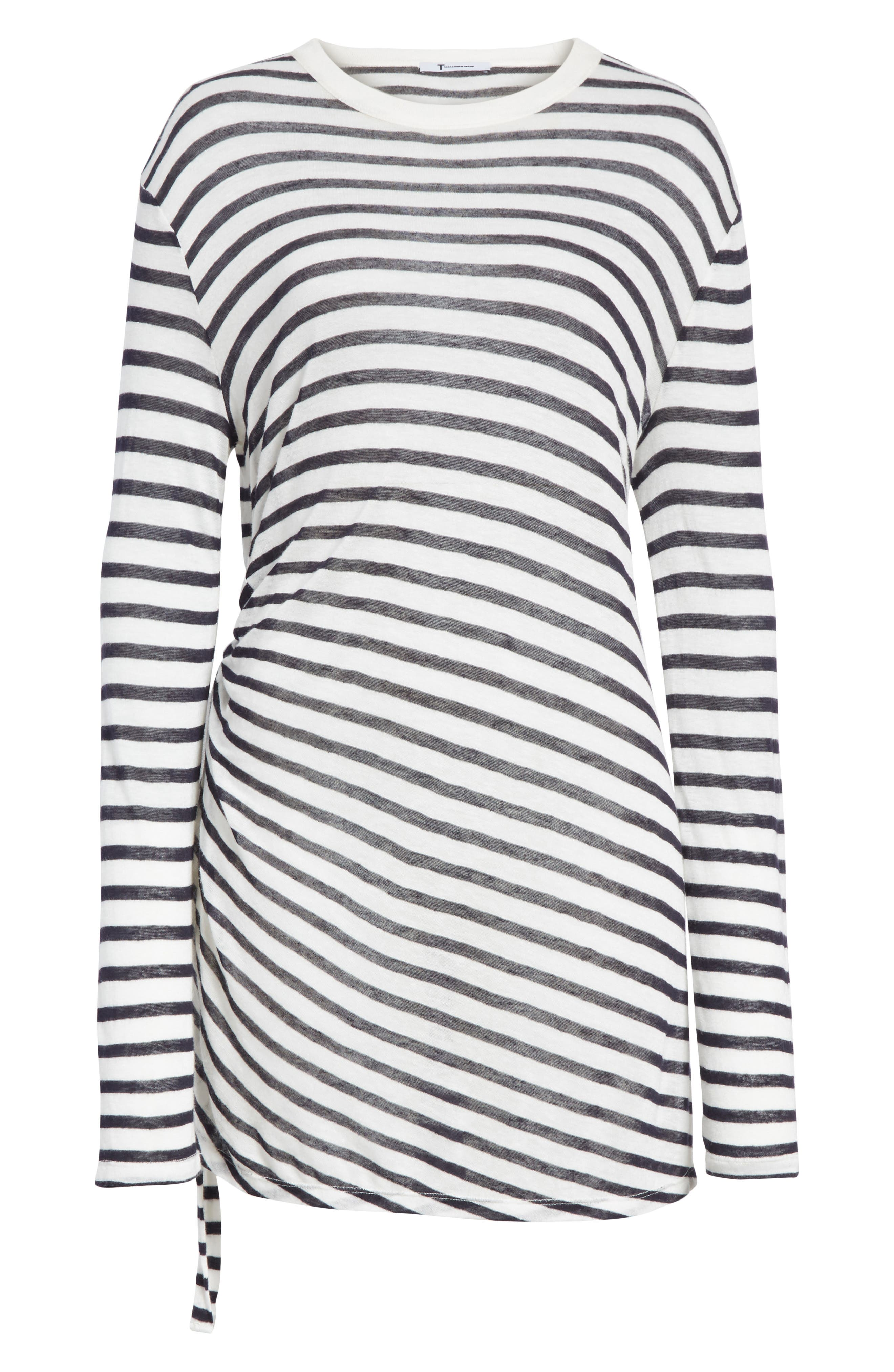 Side Tie Stripe Slub Jersey Tee,                             Alternate thumbnail 5, color,                             Ink/ Ivory