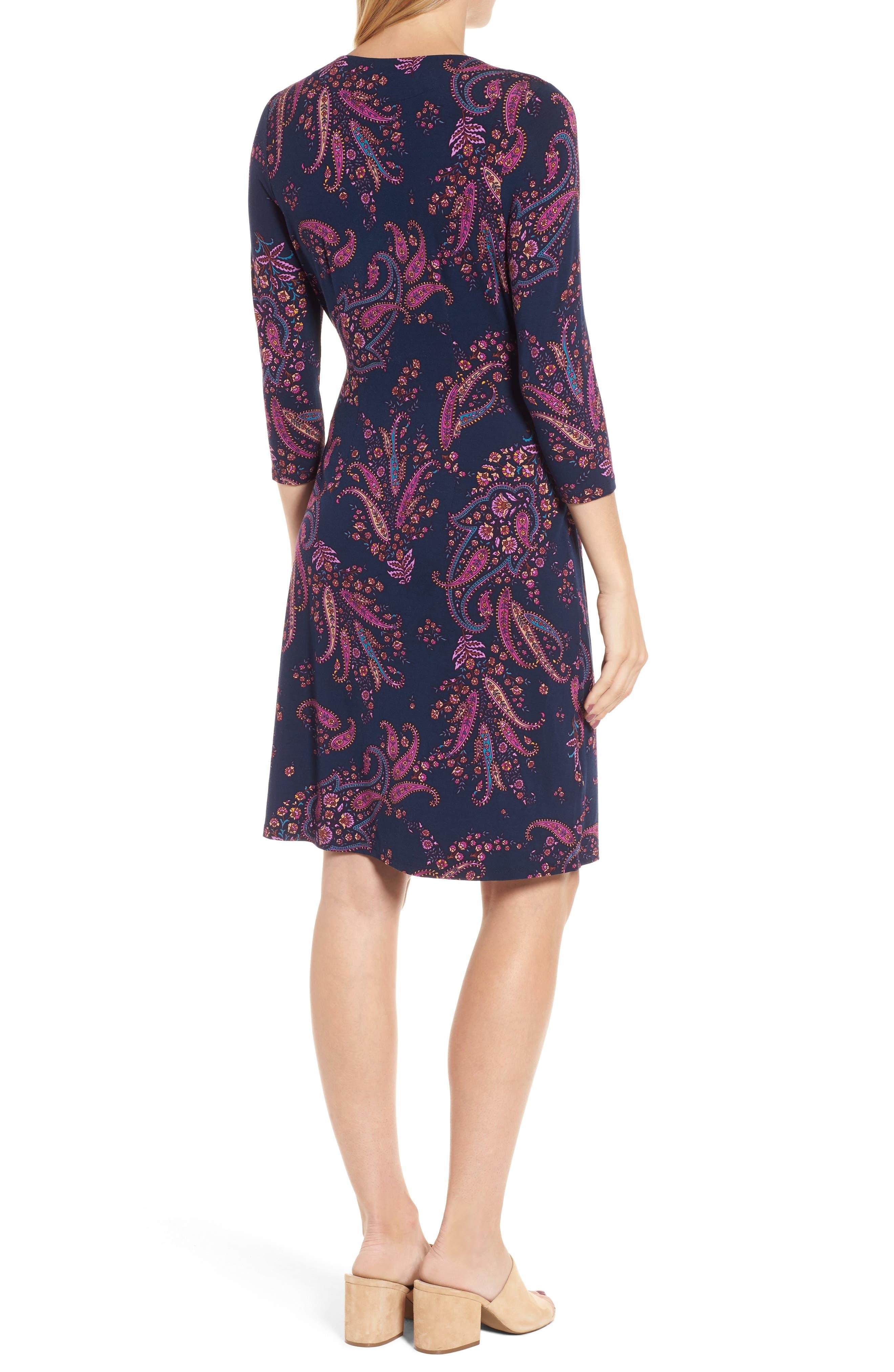 Paisley Daze Faux Wrap Dress,                             Alternate thumbnail 2, color,                             Ocean Deep