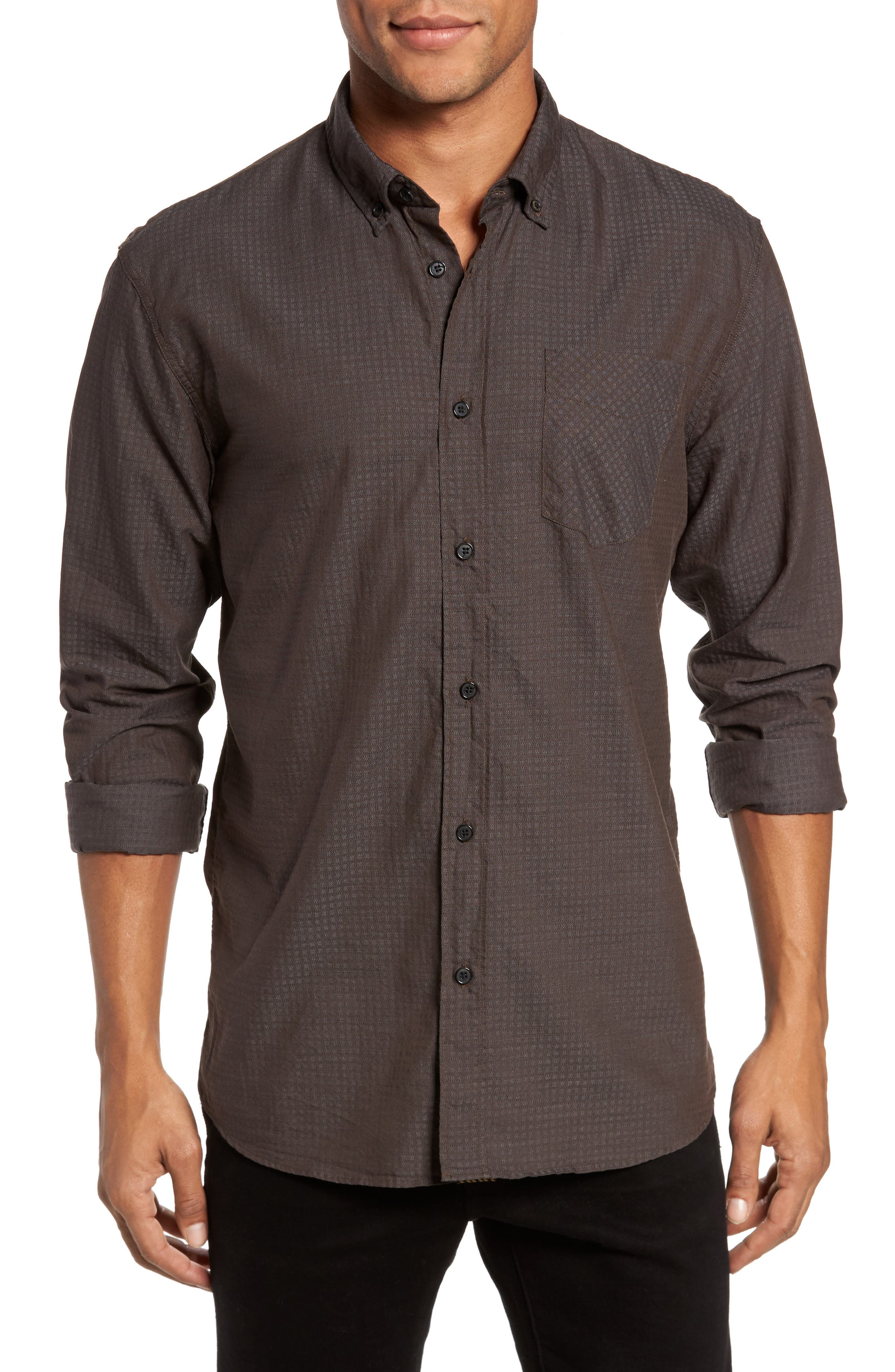 Wallace Slim Fit Sport Shirt,                         Main,                         color, Brown