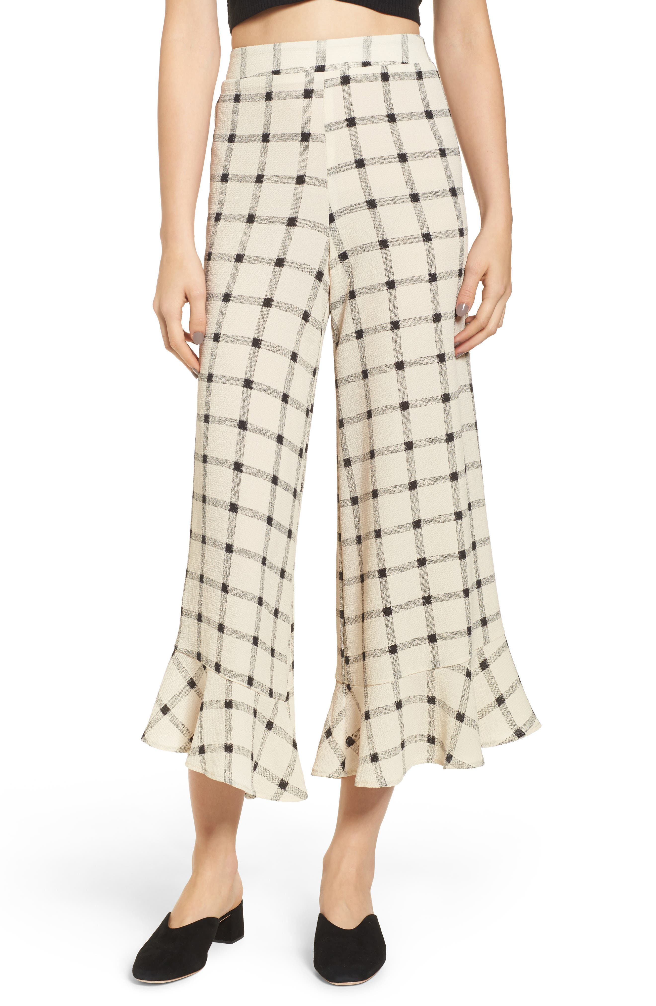 Ruffle Hem Crop Pants,                         Main,                         color, Ivory