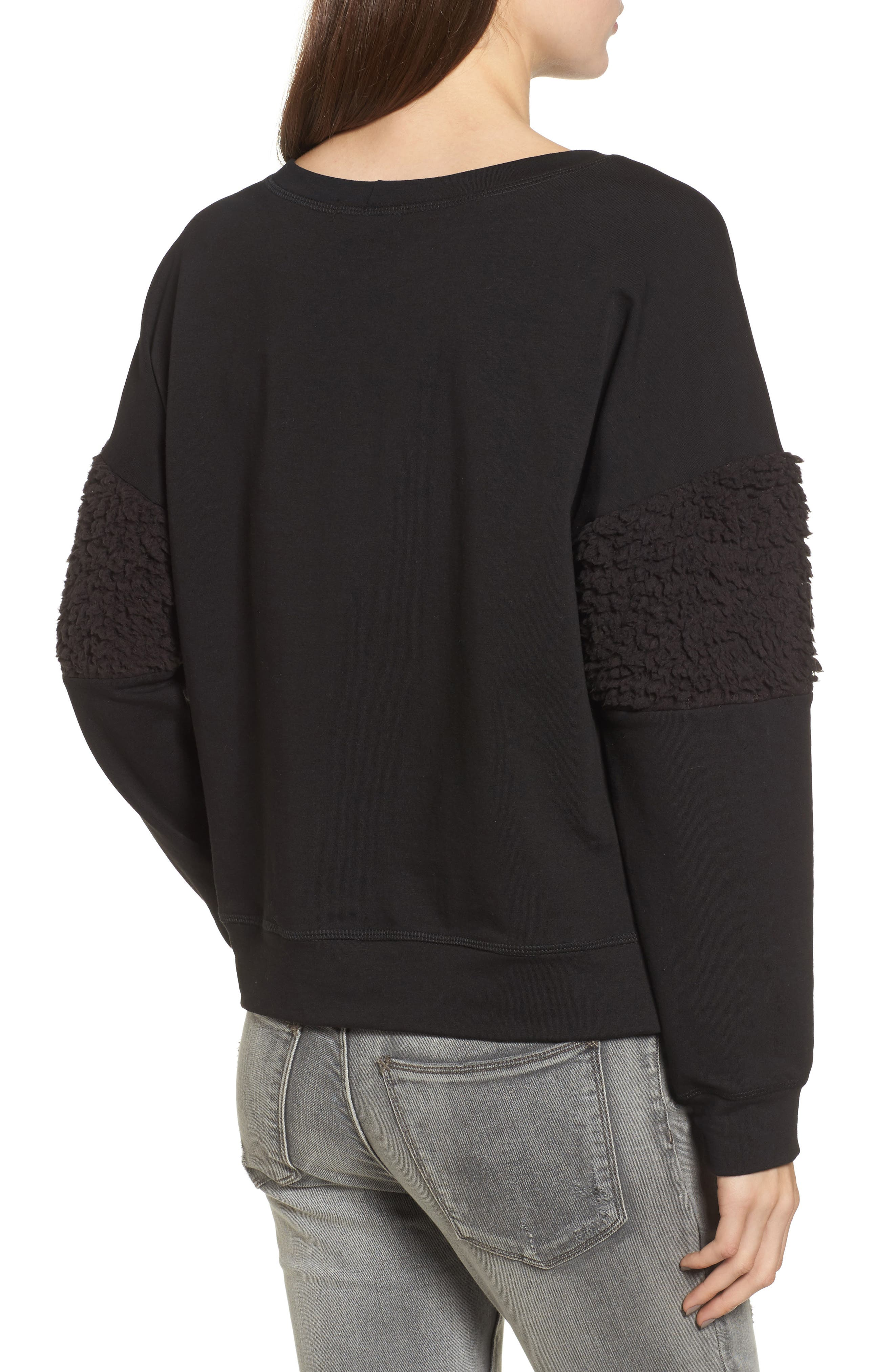 Fleece Panel Sweatshirt,                             Alternate thumbnail 2, color,                             Black