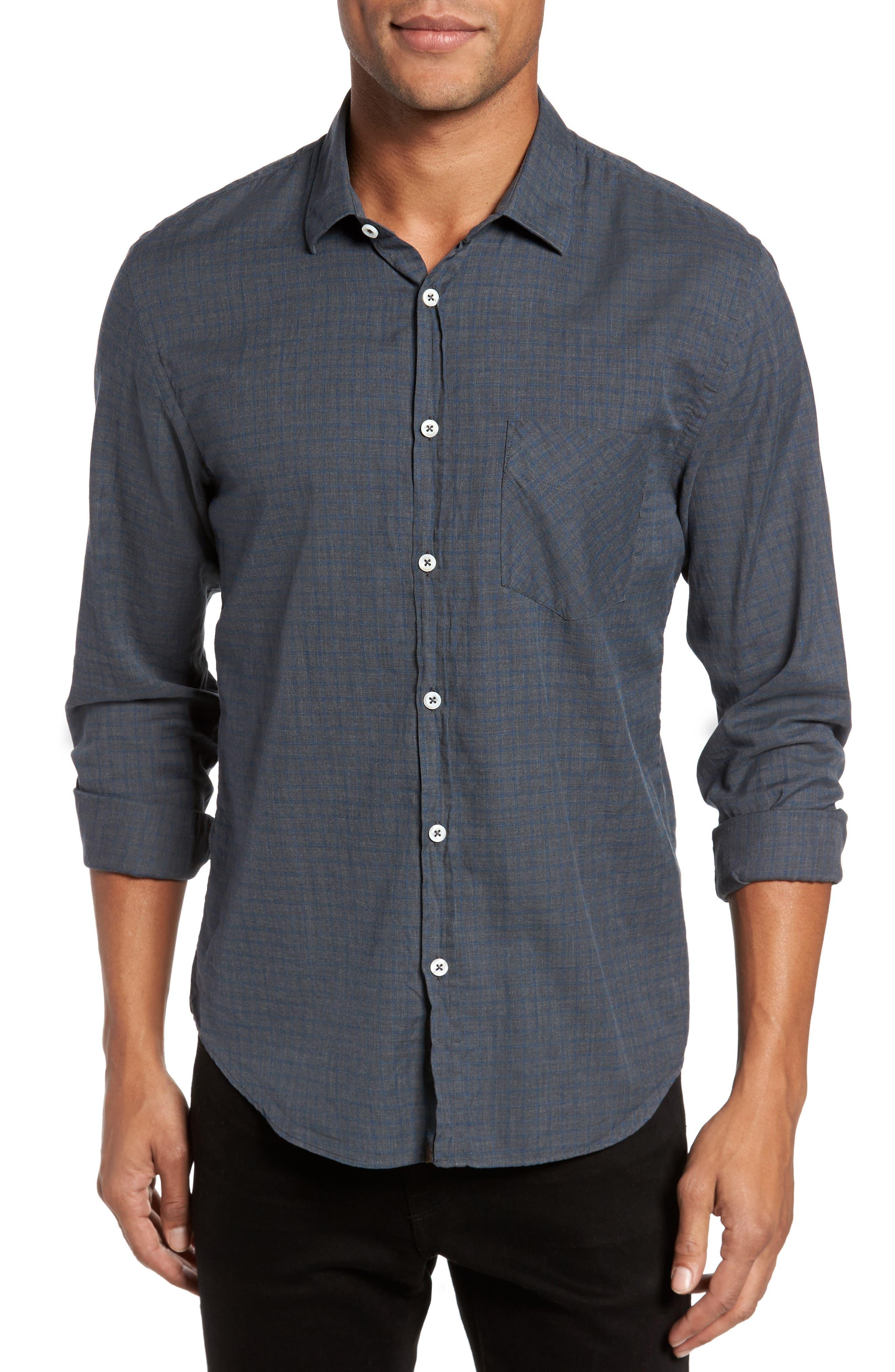 Kirby Slim Fit Check Sport Shirt,                             Main thumbnail 1, color,                             Grey/ Cobalt