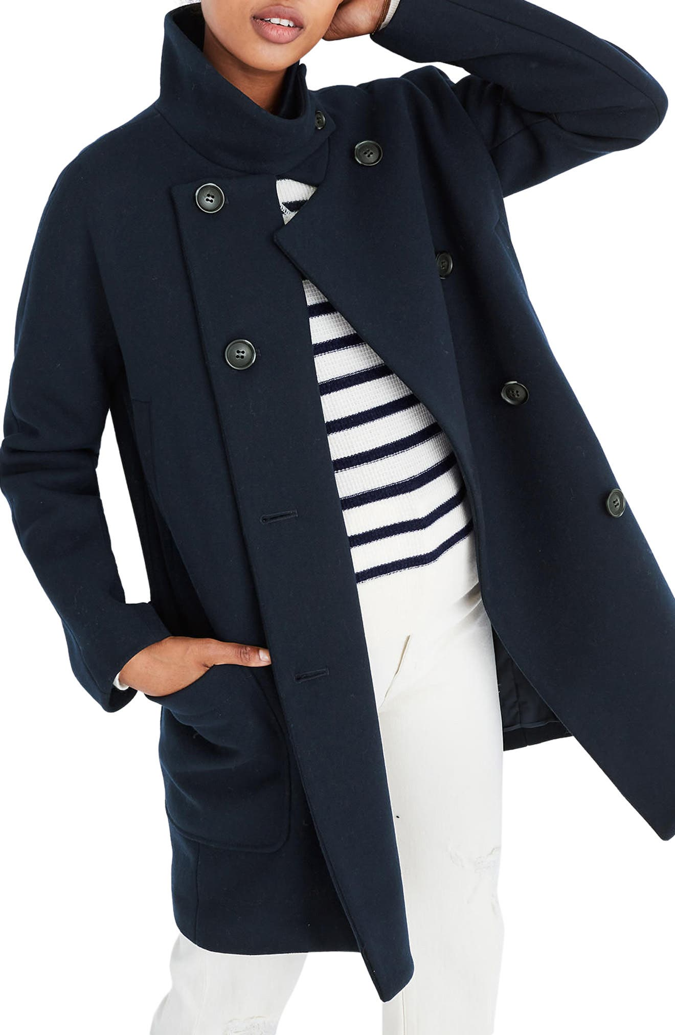 City Grid Double Breasted Coat,                             Main thumbnail 1, color,                             Iconic Indigo