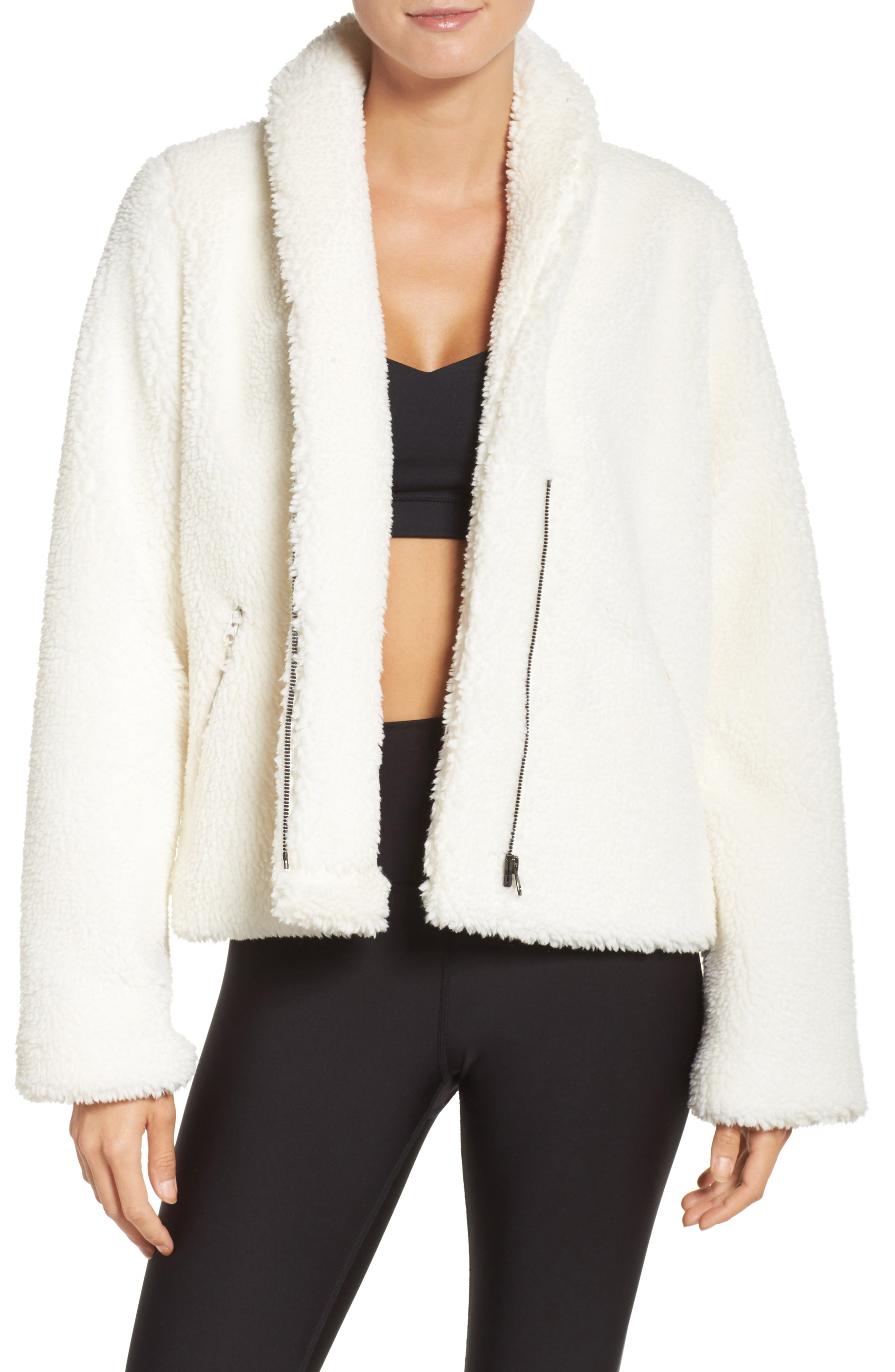 Alo Cozy Up High Pile Fleece Crop Jacket